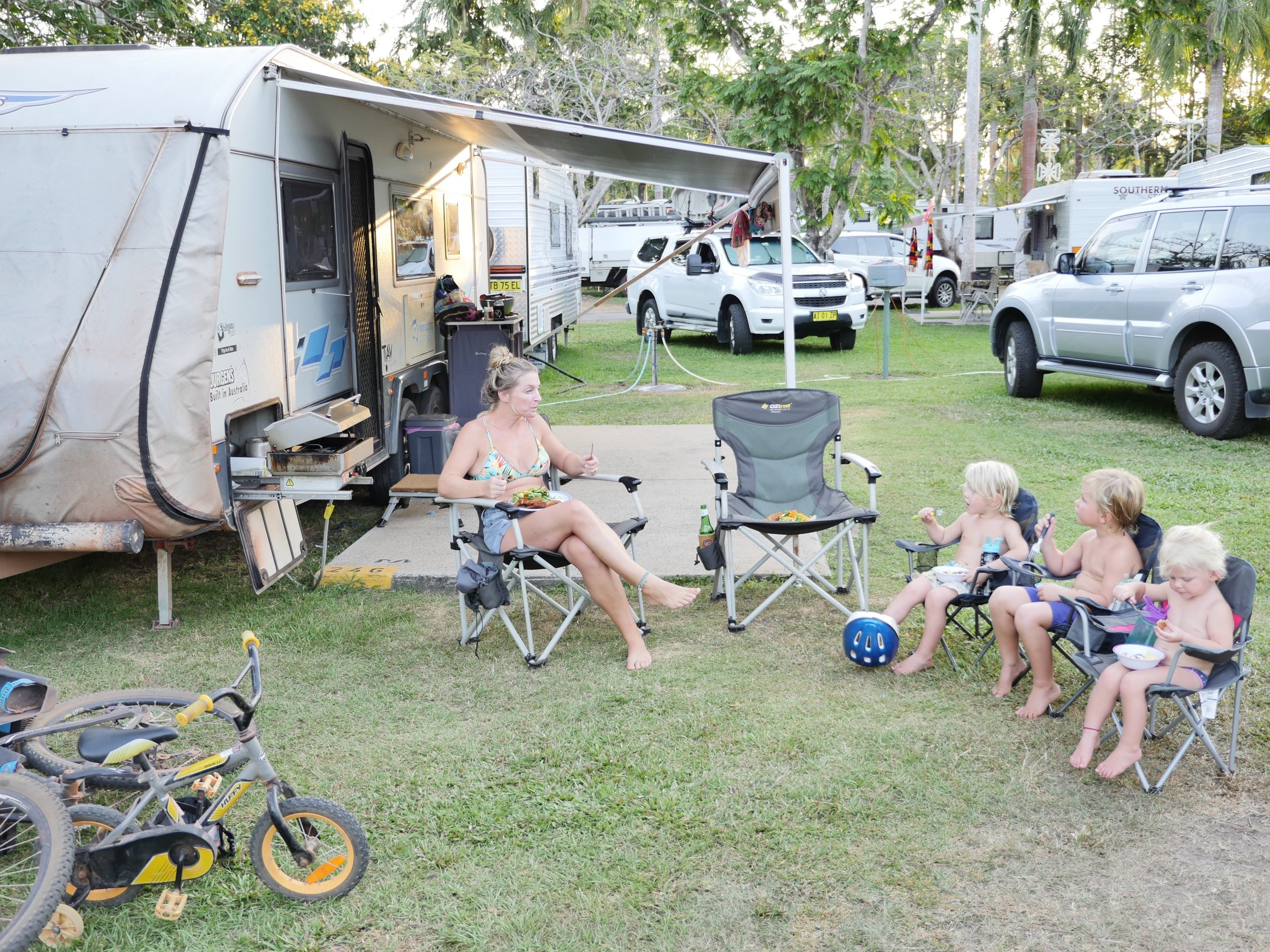 All set up and eating dinner at Darwin Freespirit Resort.