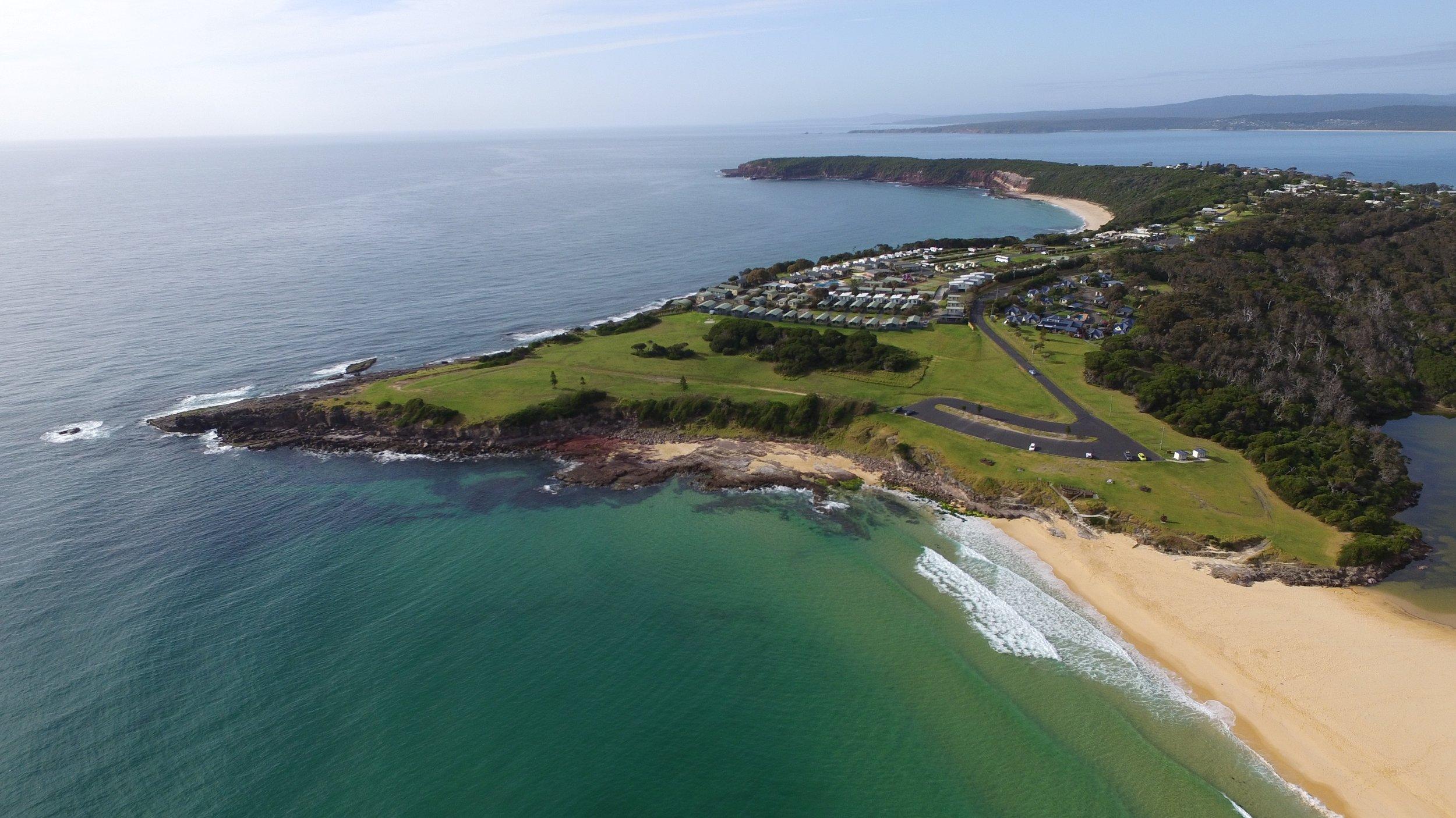 Short Point and NRMA Merimbula Beach Holiday Park.