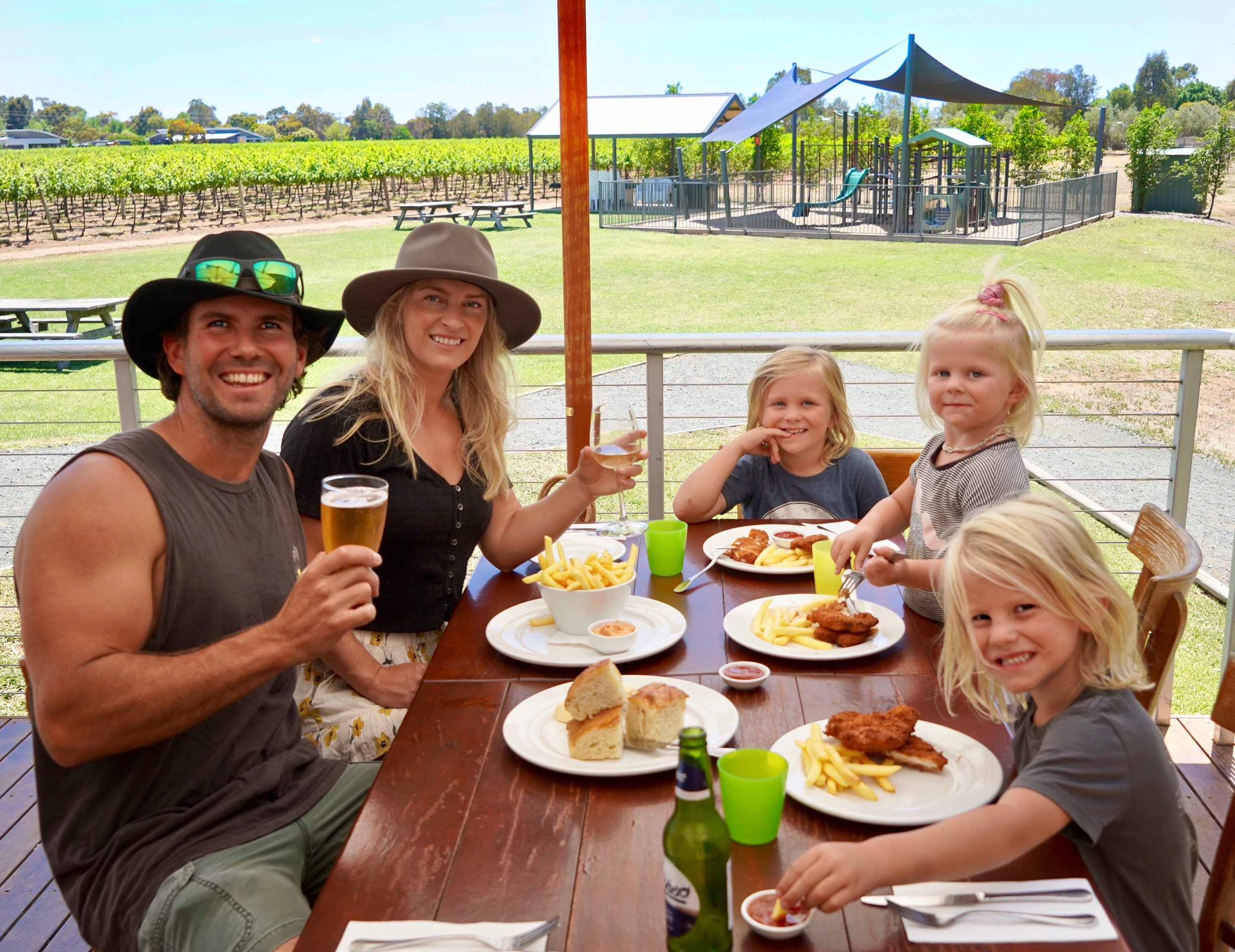 Family lunch at Morrison's Winery, Moama.