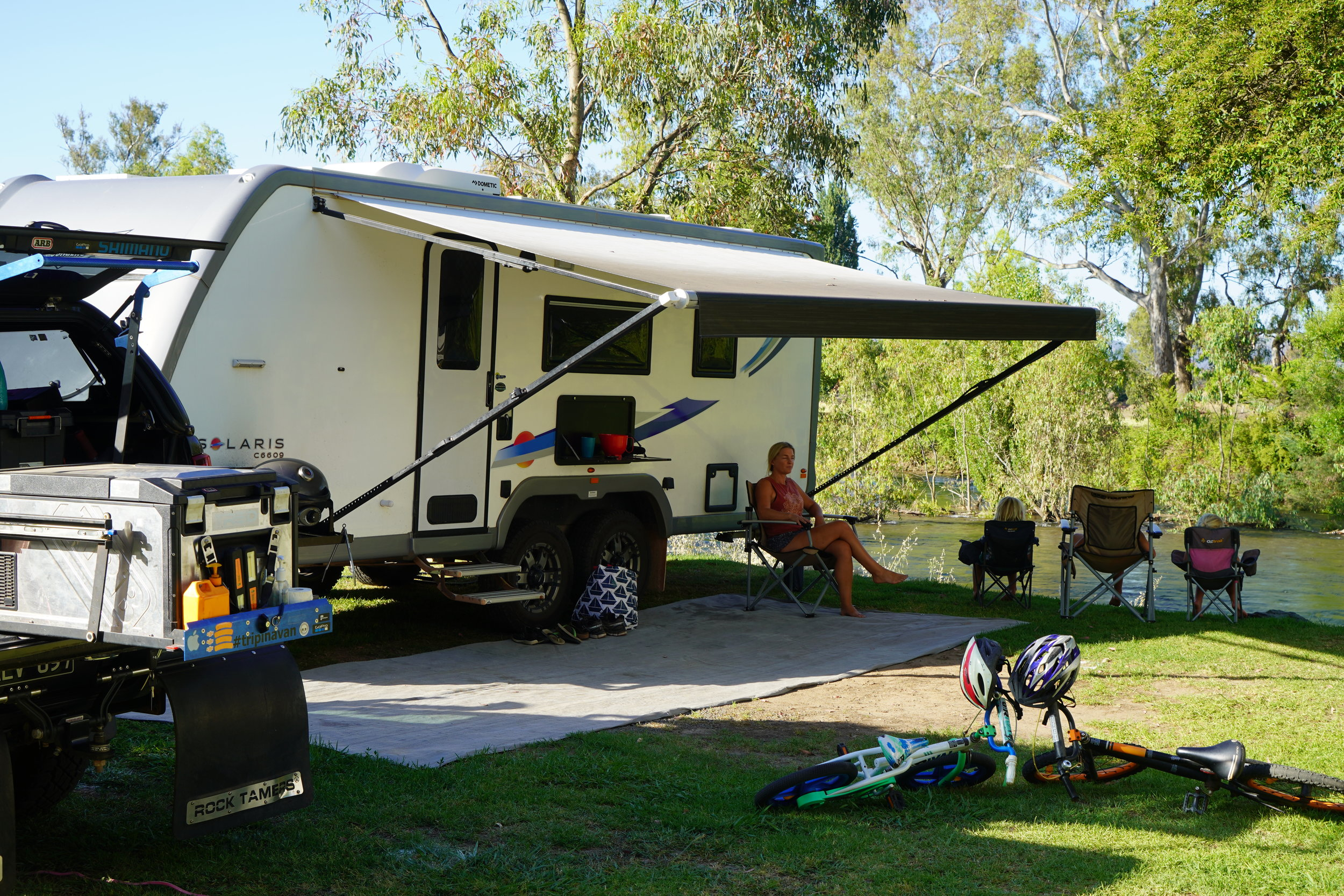 Chilling out riverside at the van….
