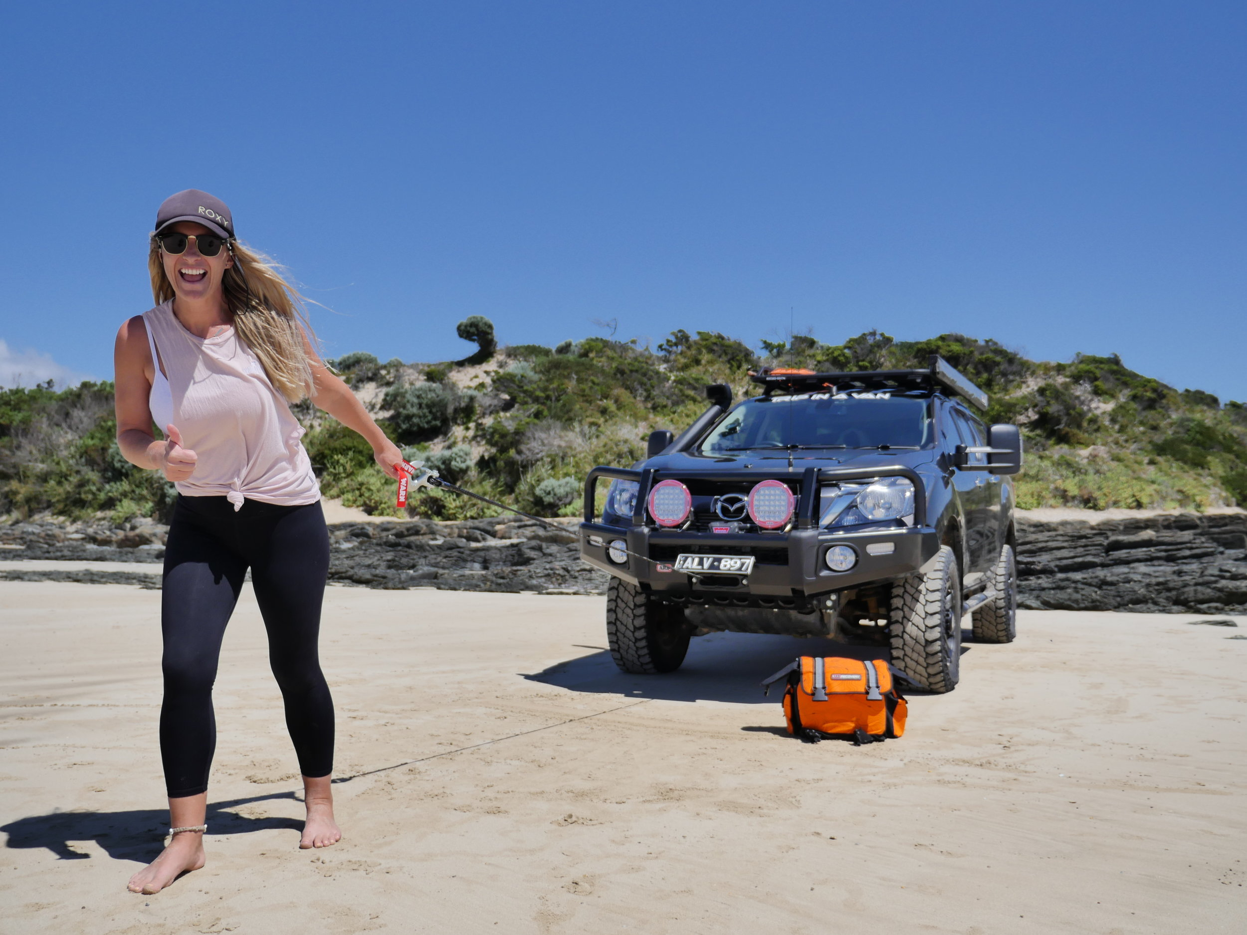 Teaching Bec how to run the winch out in Tasmania… Have you done the Bridport to Bellingham 4wd track?? It's a great day trip -  YOU CAN WATCH HERE!!