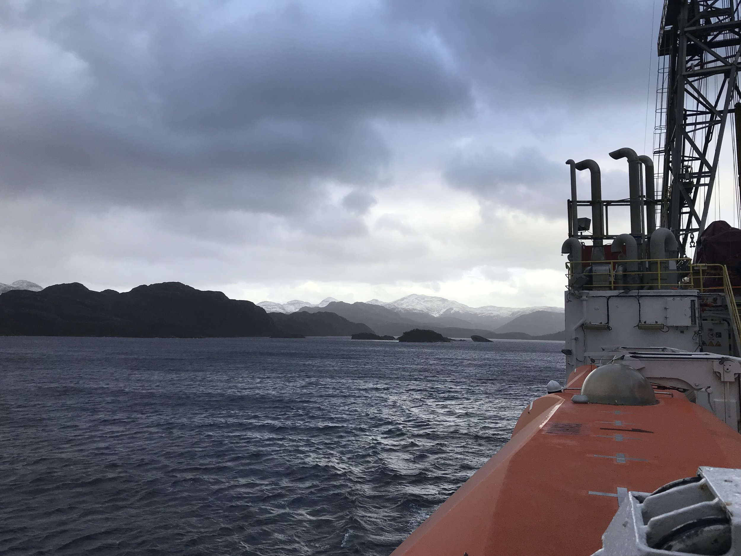 The JR transiting through Chilean Fjords.
