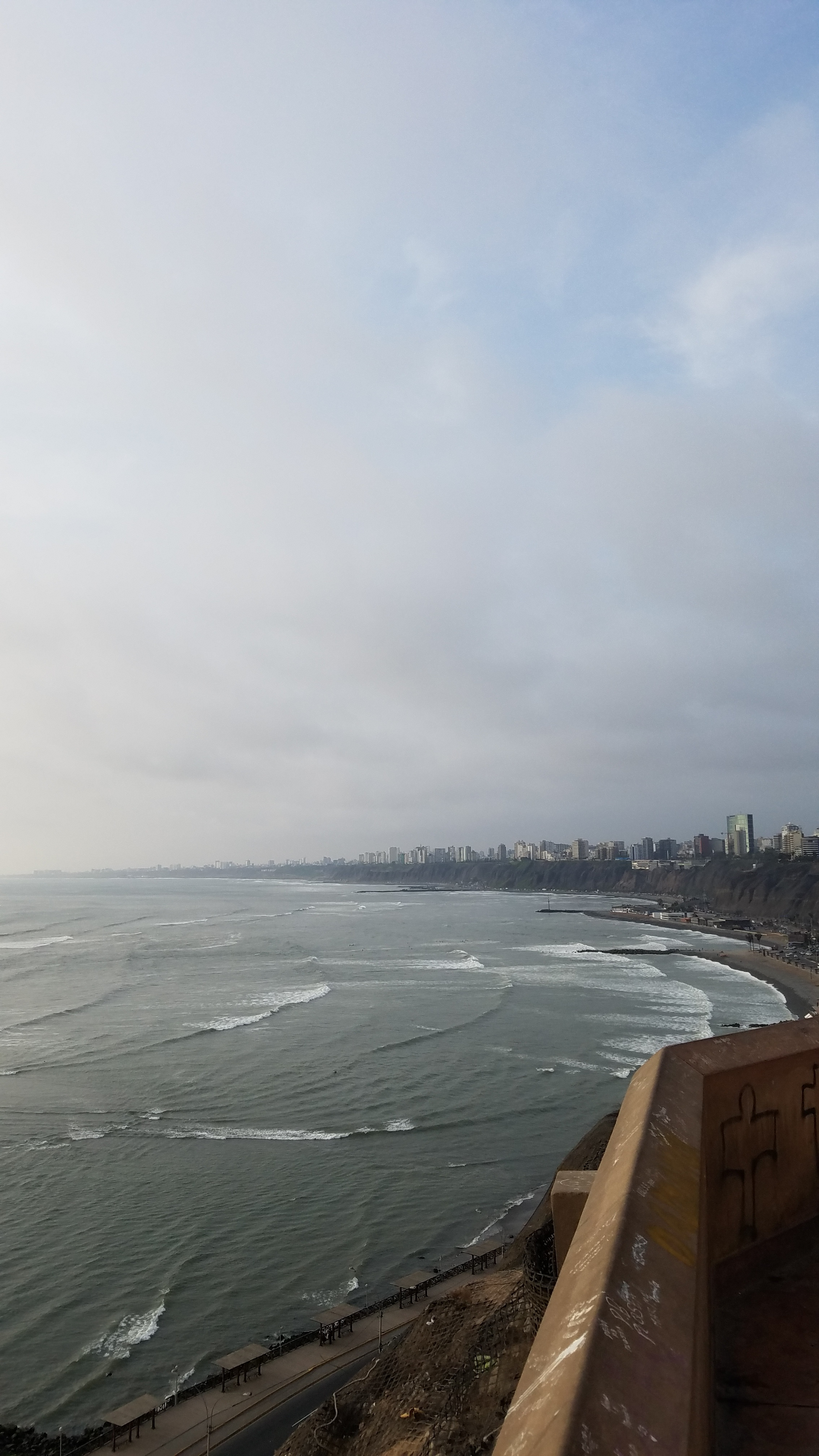 View of the surf from the cliffs of Barranco
