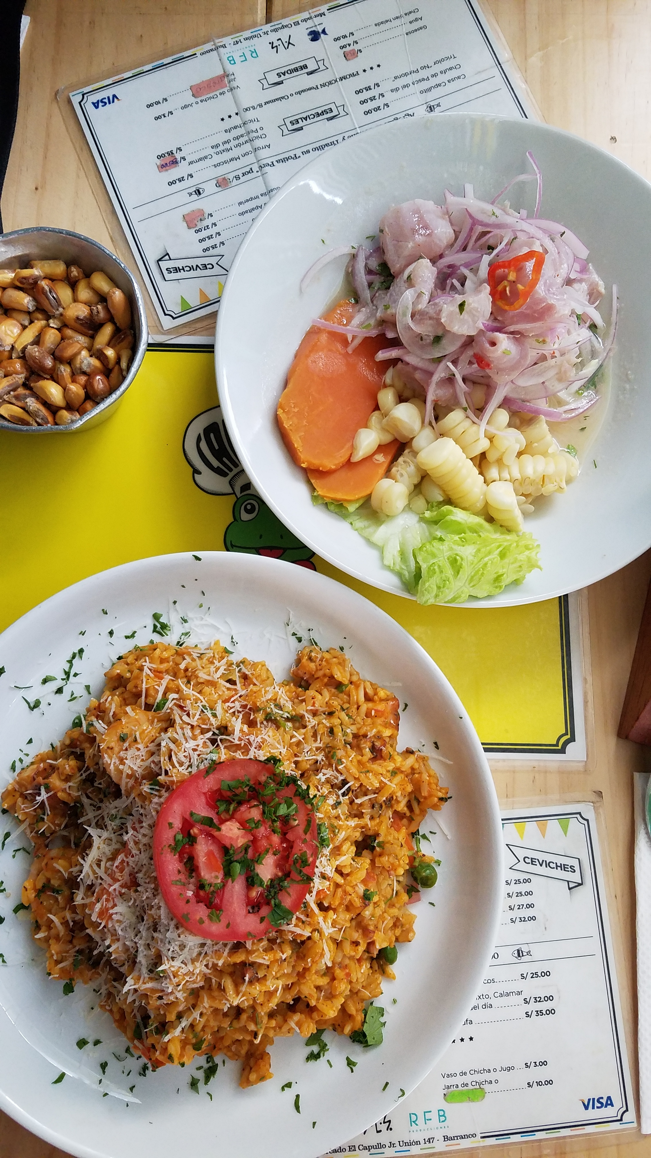 Tilapia Ceviche & A Paella type dish of Shrimp and Octopus