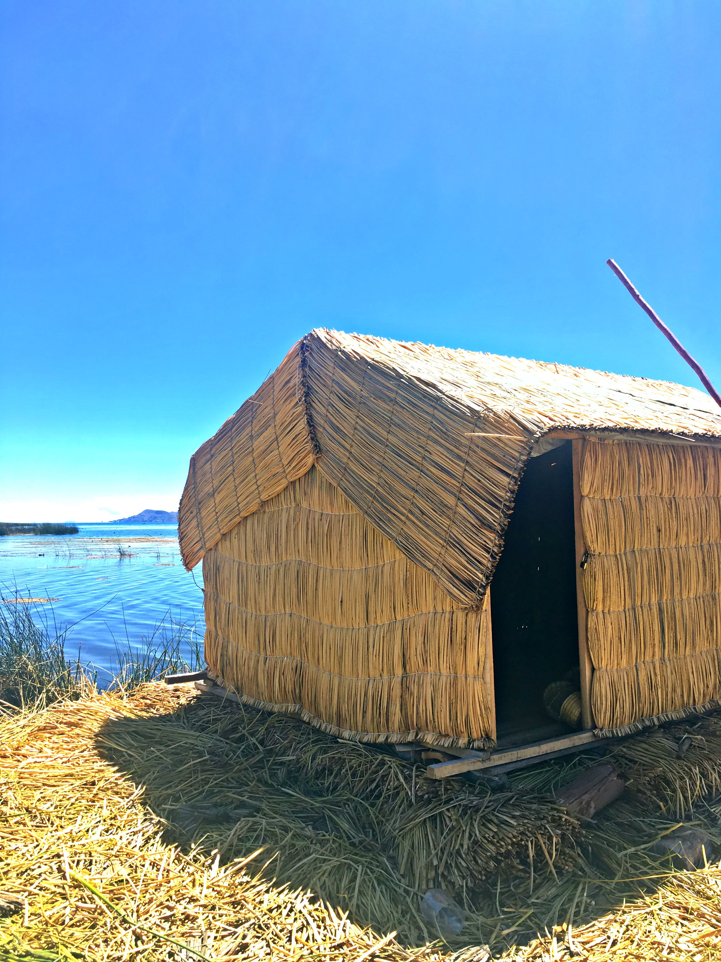 Reed hut on one of the Uros floating islands
