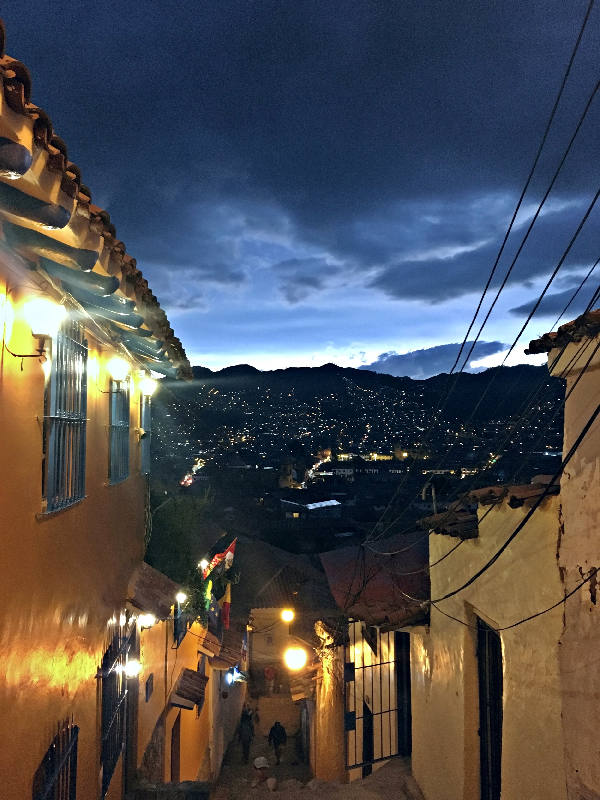 Lights decorate the hills, looking out from San Blas