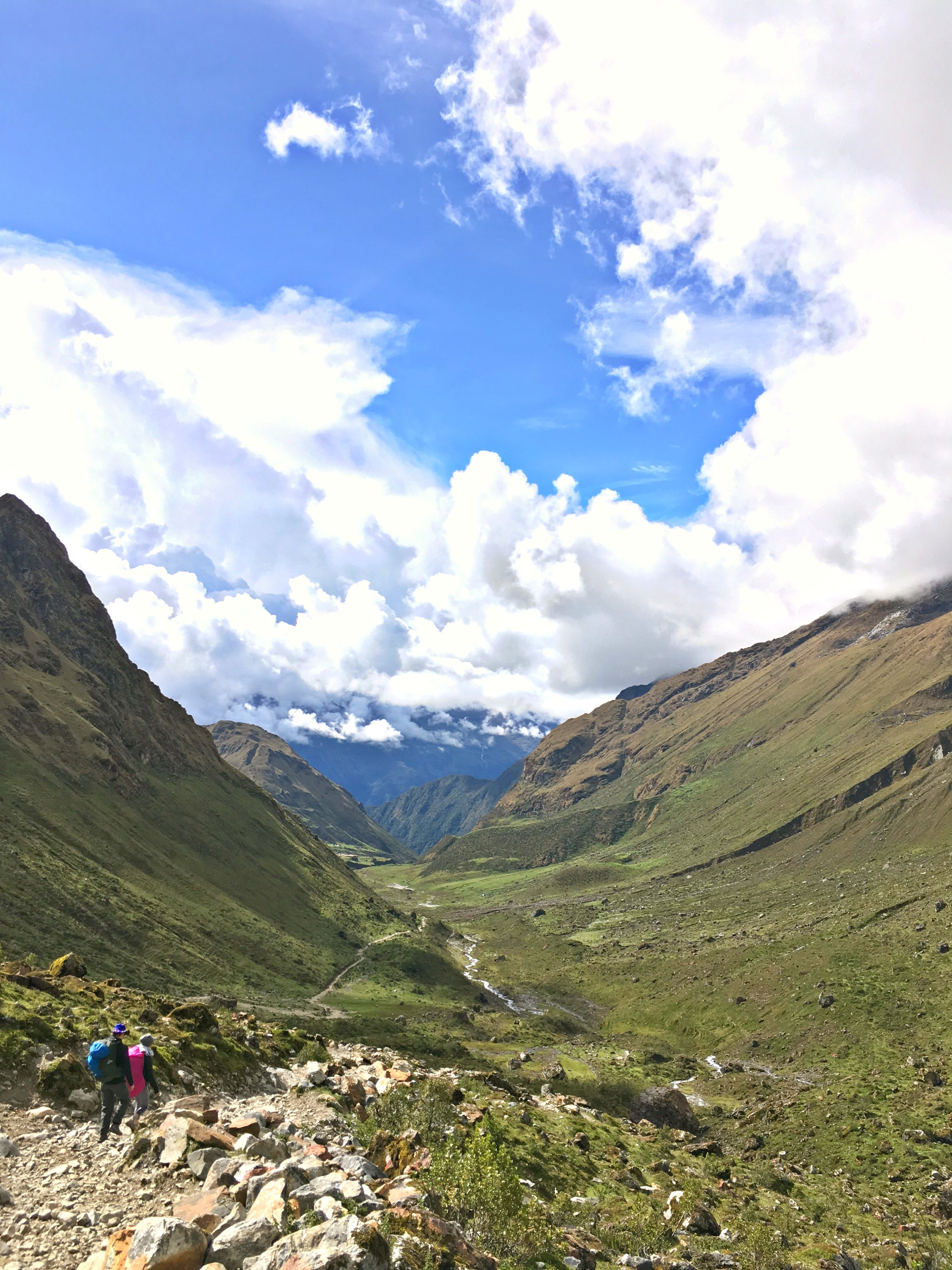 Hiking down from Salkantay Pass, improved weather was a welcomed change