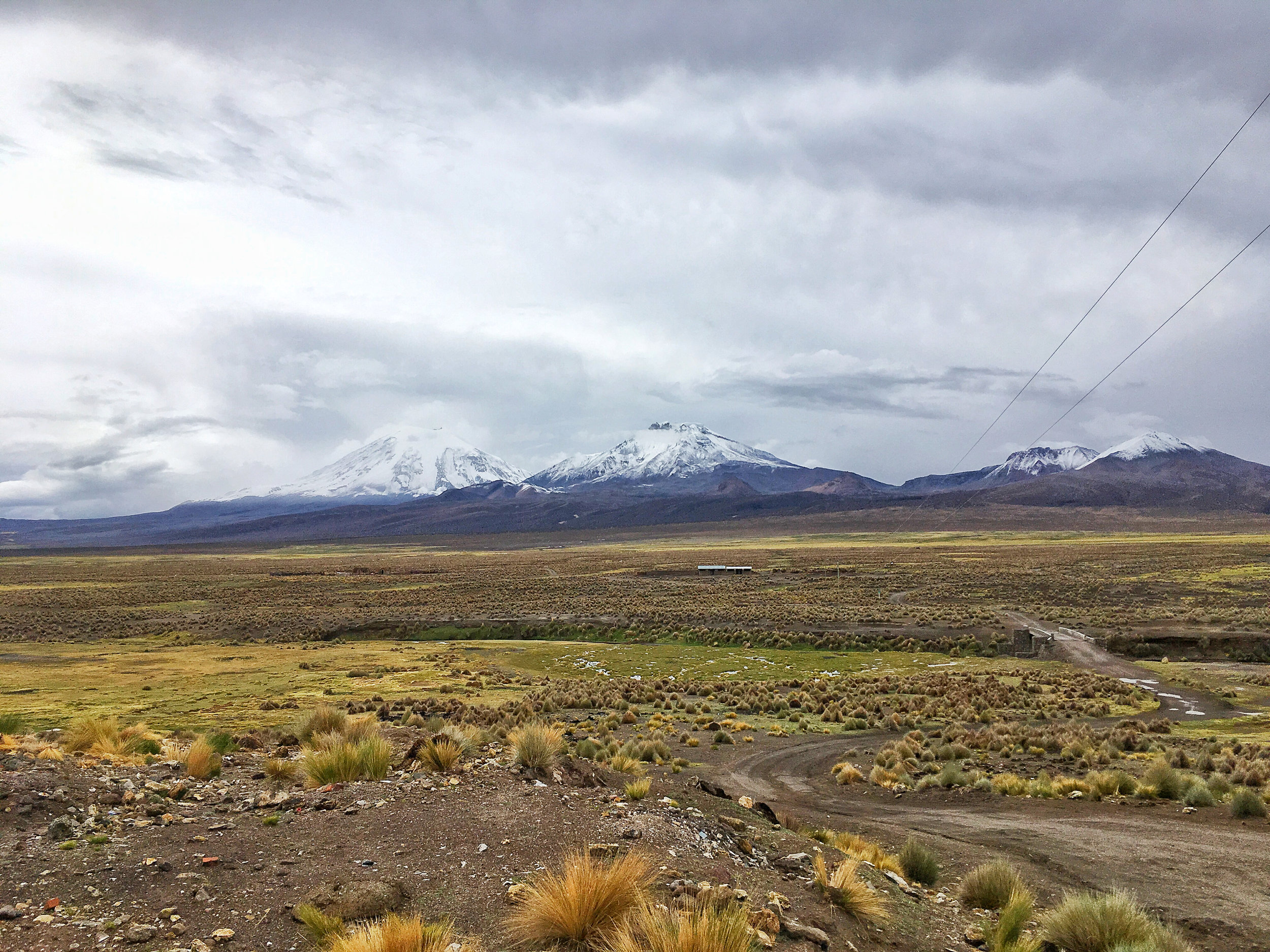 Looking out at a sampling of the volcanoes of Sajama National Park