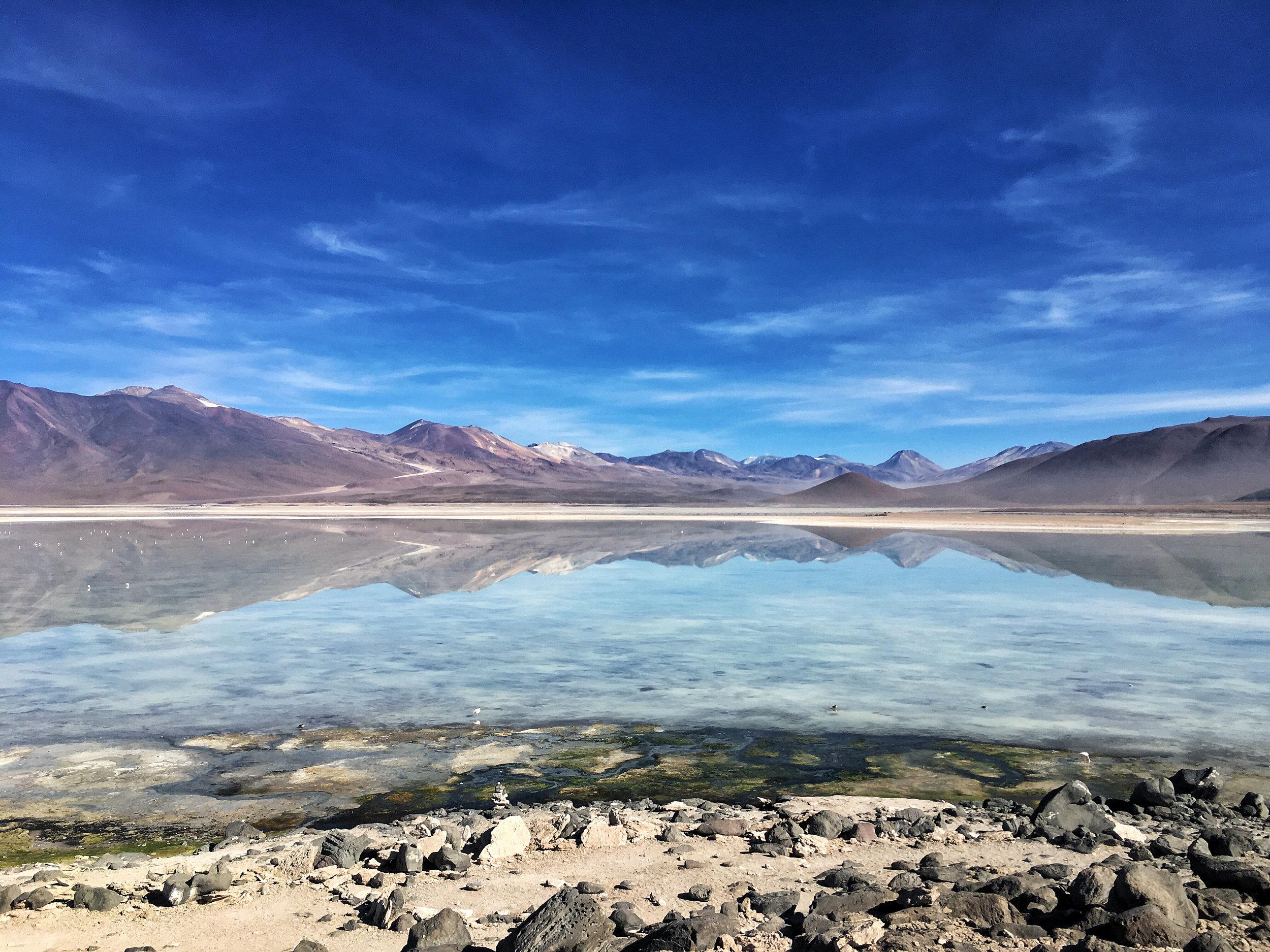 Mountains flanking laguna blanca