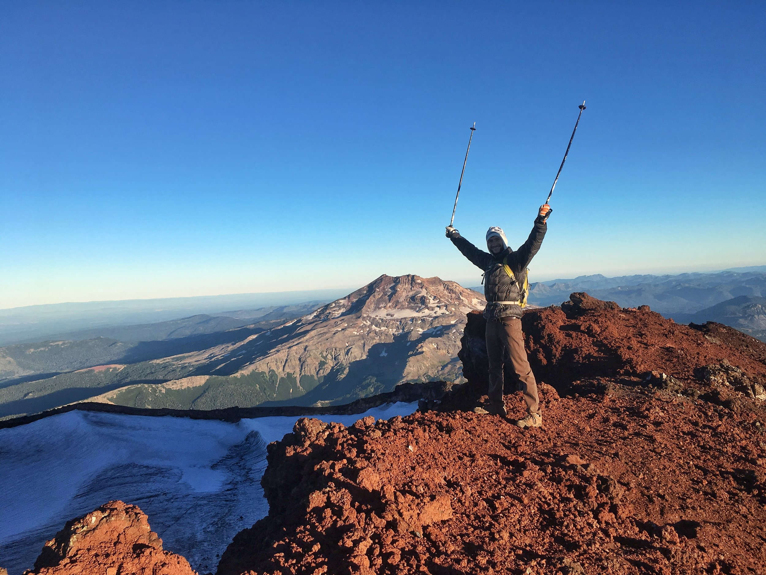 Celebrating a sucesful sunrise summit of Lonquimay Volcano