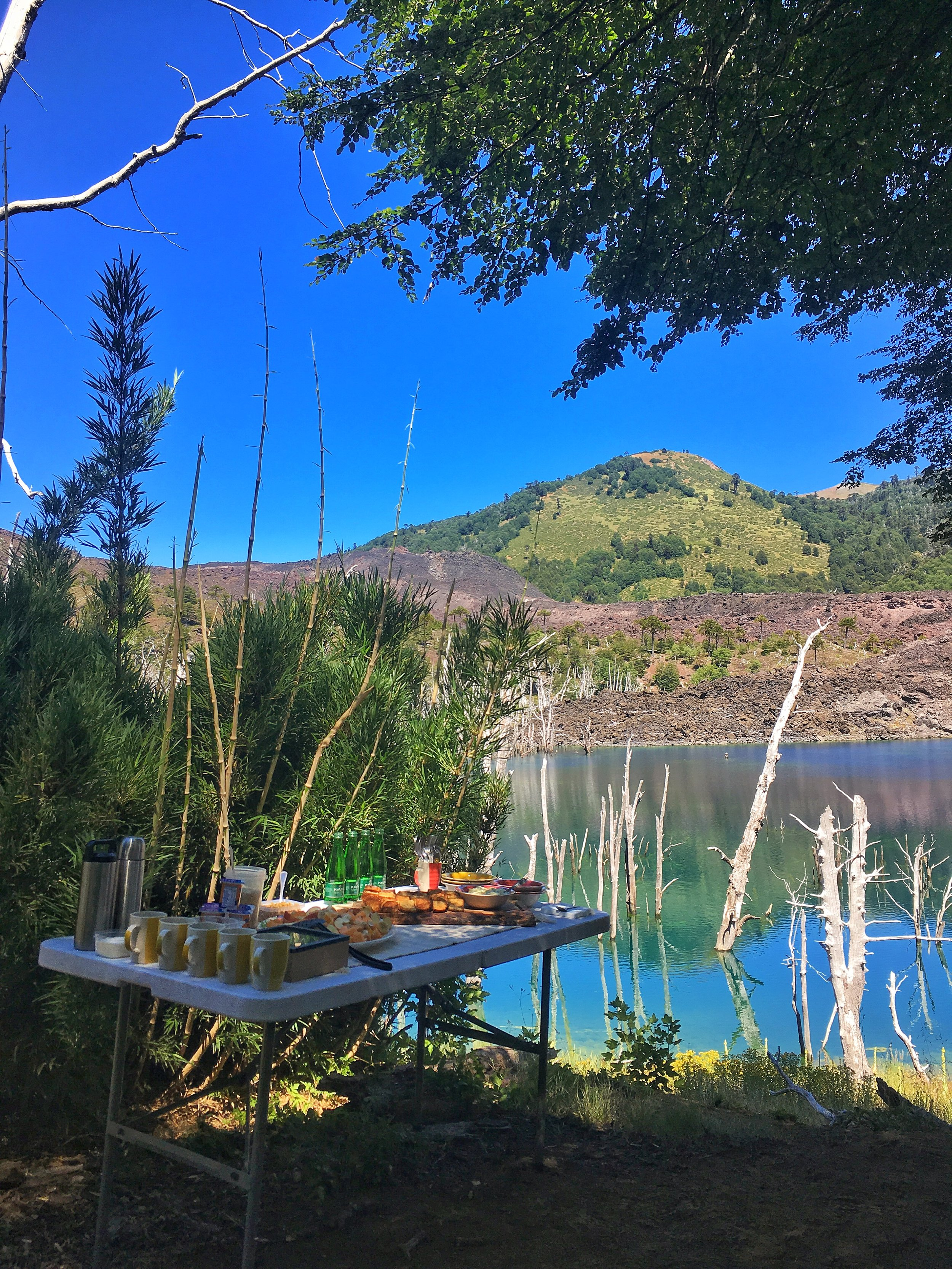 Catered breakfast on a volcanic lake after the surise photo-session