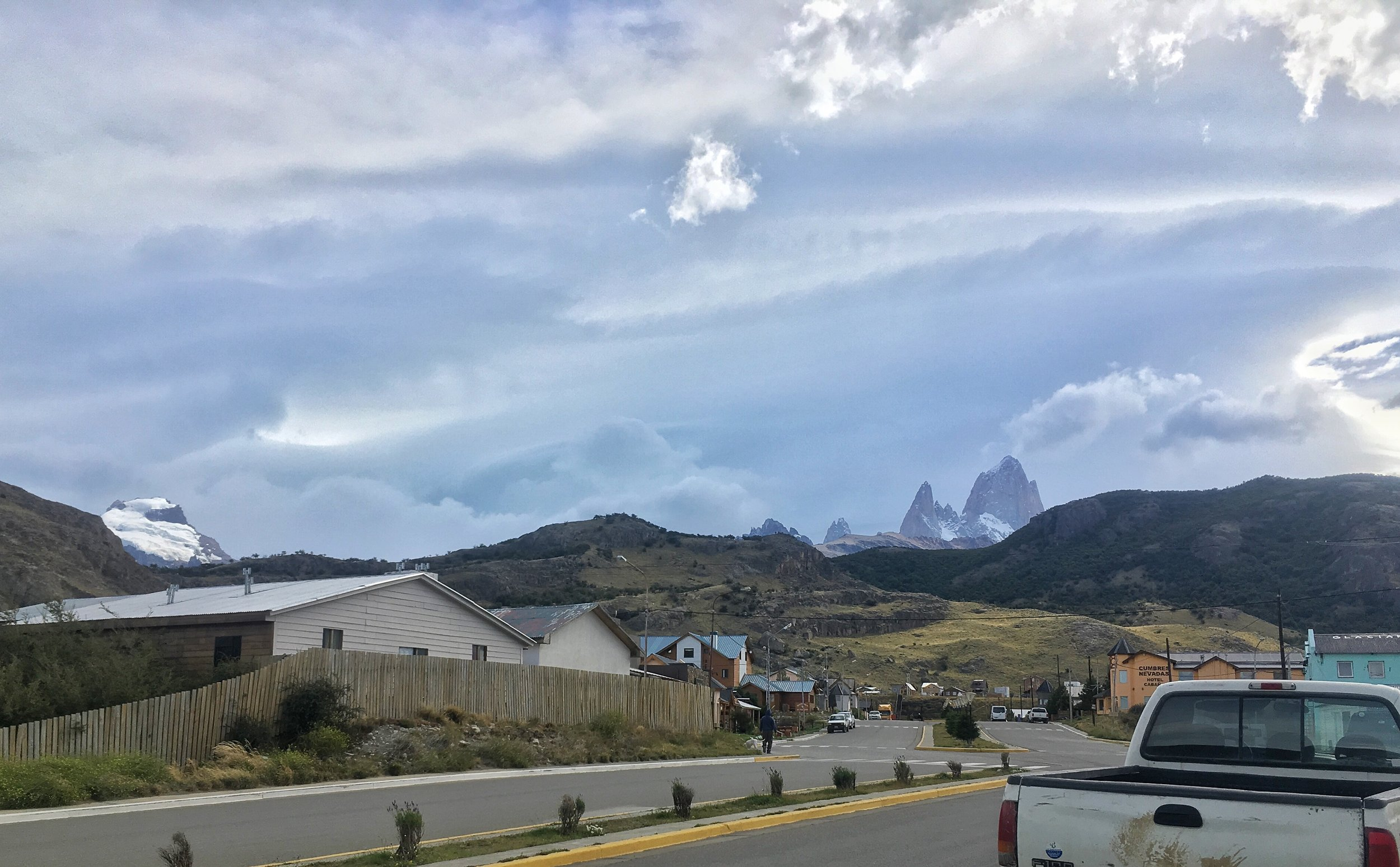 Driving into El Chalten, Fitzroy standing tall off in the distance