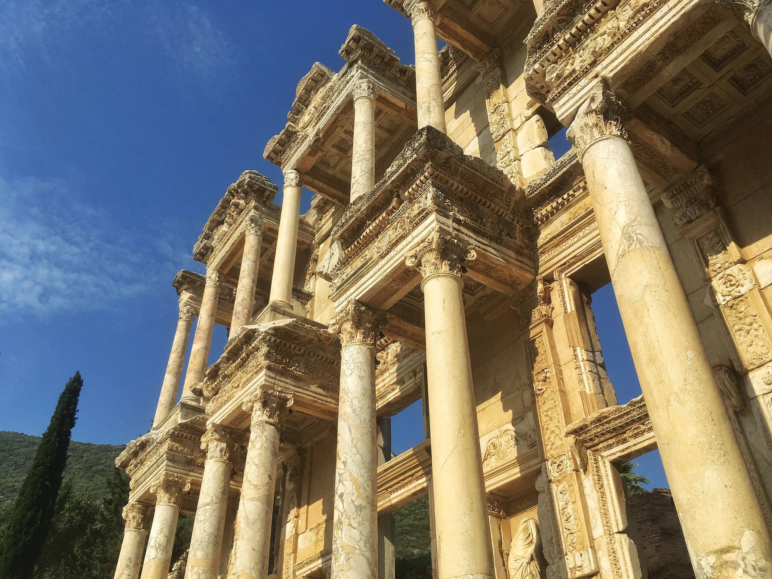 The facade of the Library of Celsus at Ephesus, the ornate sculpture and Corinthian columns marking the stylistic high water mark of the Roman Empire