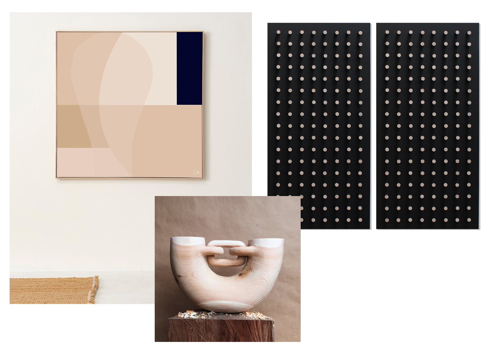 From Left to Right: Female 07 by Caroline Walls, Divide by Bradley Duncan, & Untiled Sculpture by Ariele Alasko.