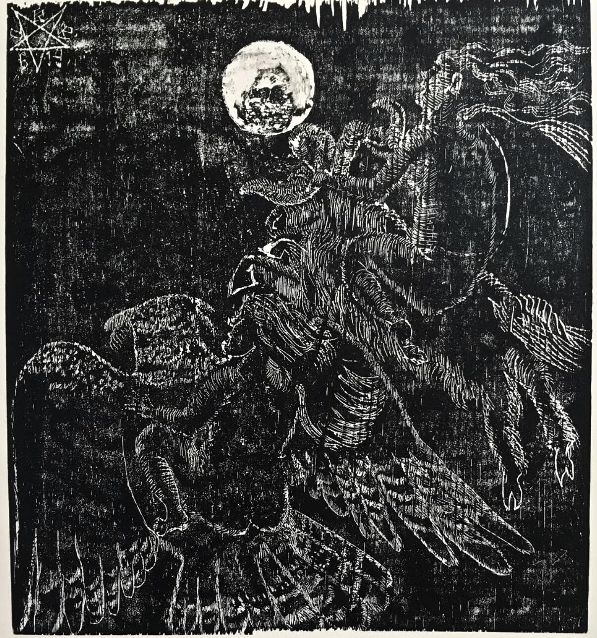 """""""Moon Sisters""""  10 x 11"""" woodcut on recycled wood and paper, edition of 5, August 2019."""