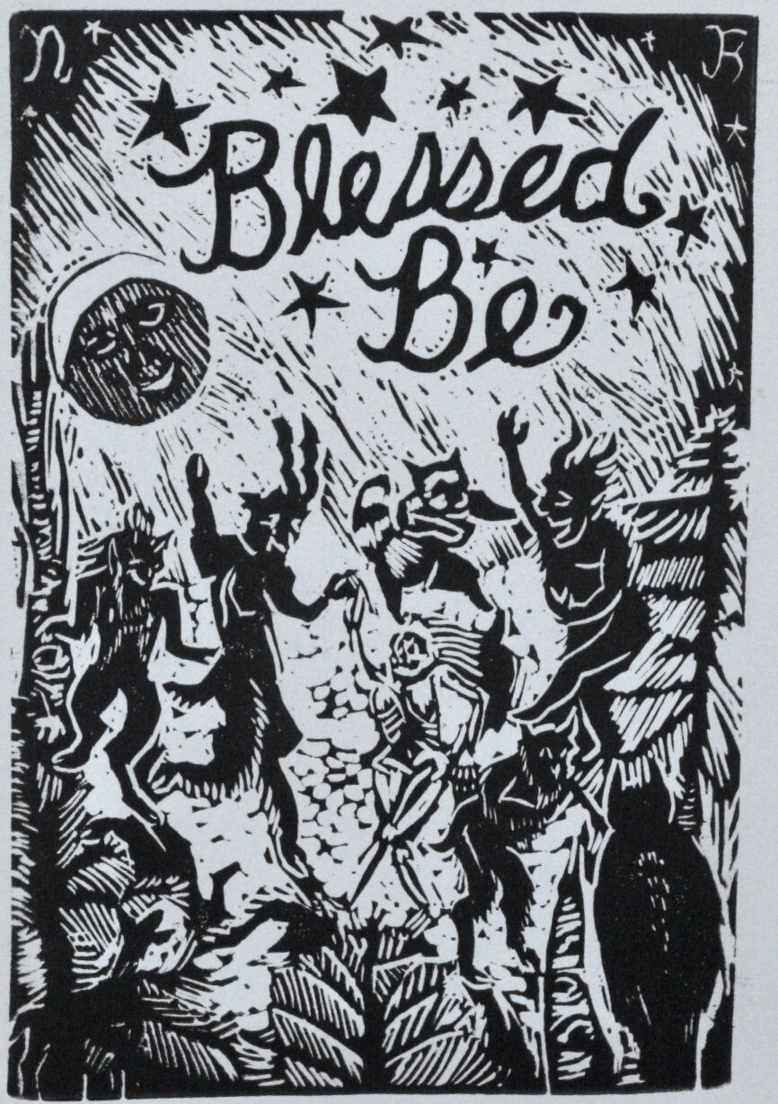 """""""Blessed Be""""  4 x 6"""" linocut, edition of 25, November 2018."""