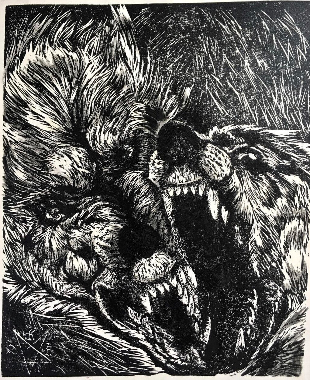 """""""F*ck Around, See What Happens""""  15 x 23"""" linocut monotype on recycled paper, edition of 5, August 2019."""