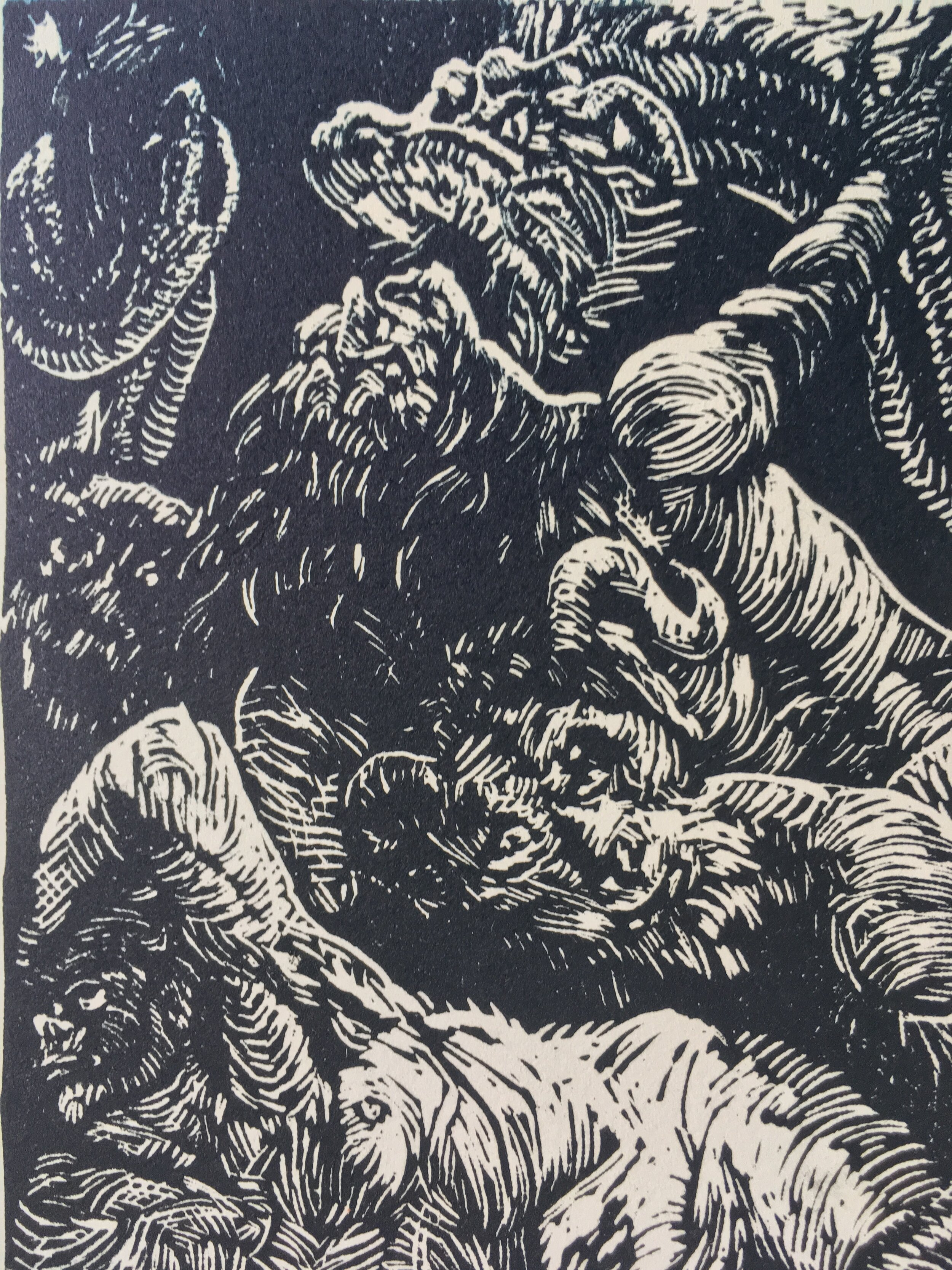"""""""Study of Cesari's Rebel Angels""""  5 x 7"""" rainbow roll linocut on recycled paper, edition of 13, March 2018."""