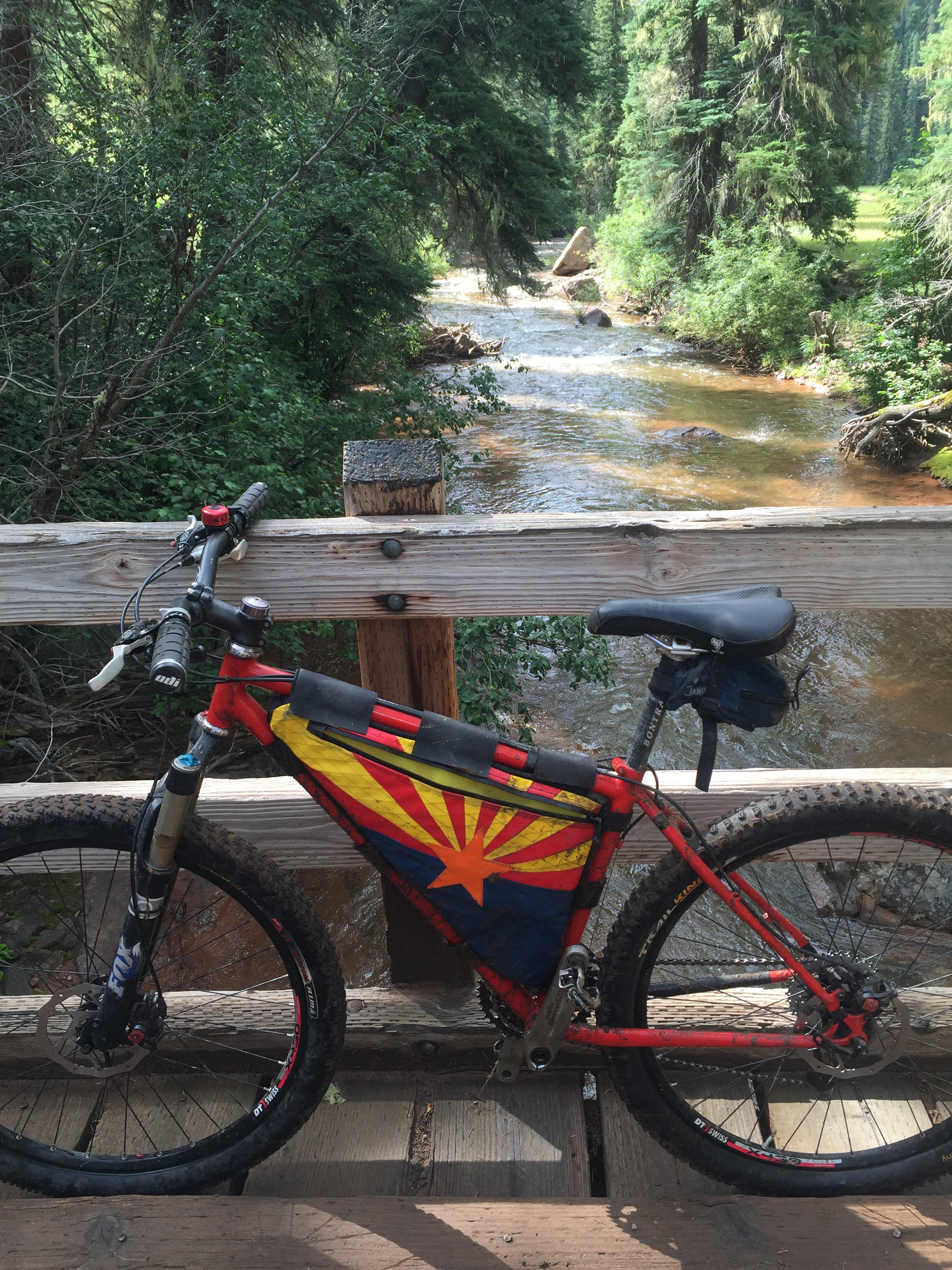 My steed, a top one of the many bridges along Hermosa Creek. Surface water is a huge treat for us dry country folks.