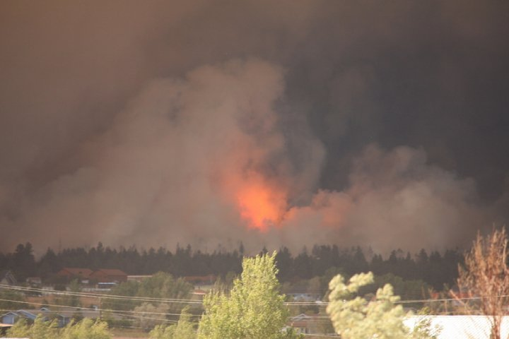 The flames raging towards our neighborhood.