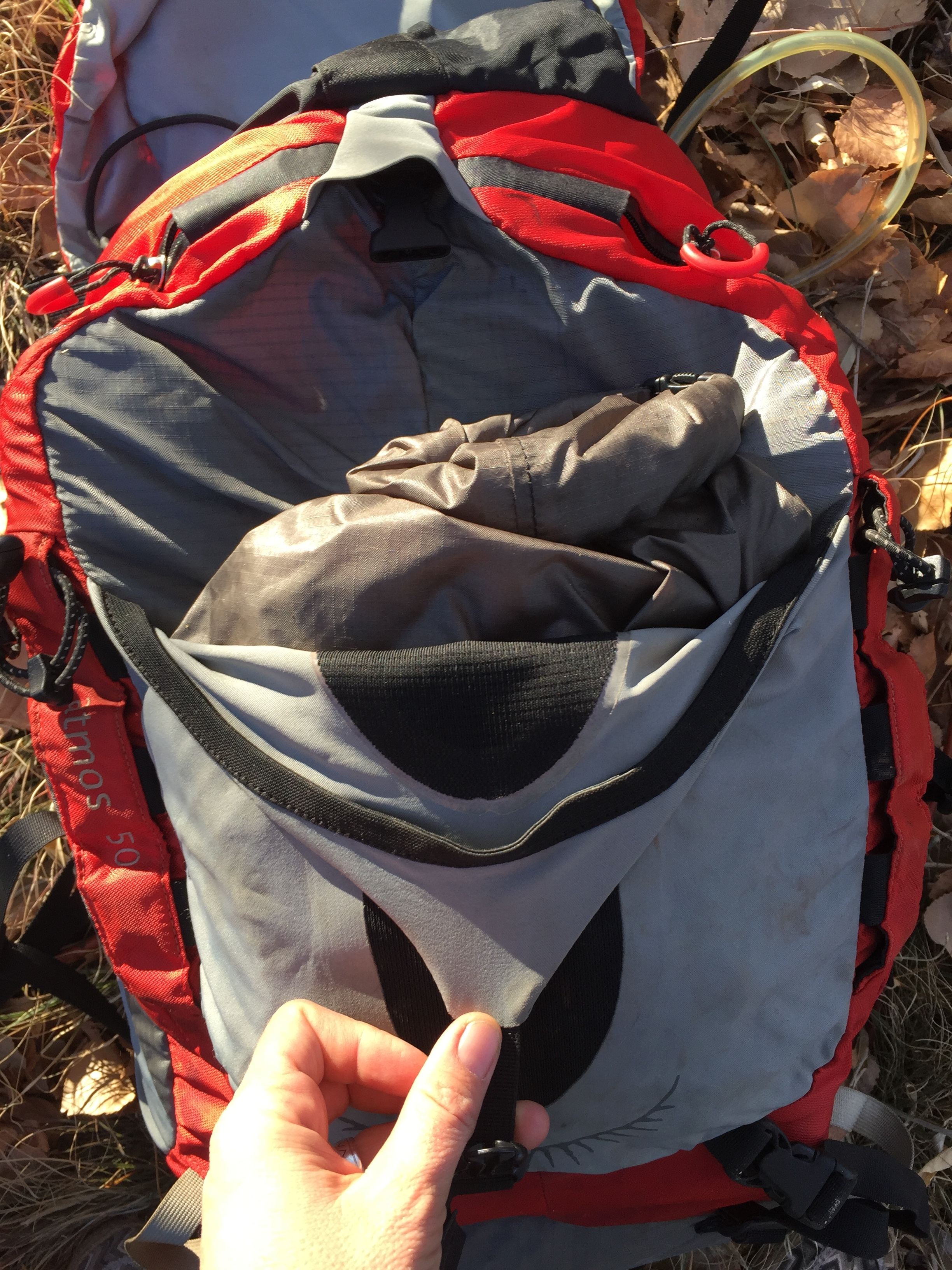 I kept my food bag in the front pouch of my pack. This made snack access easy, and kept all food items together for easy isolation at night. You don't want critters in your tent, so making sure there are no food bits in weird places is key.