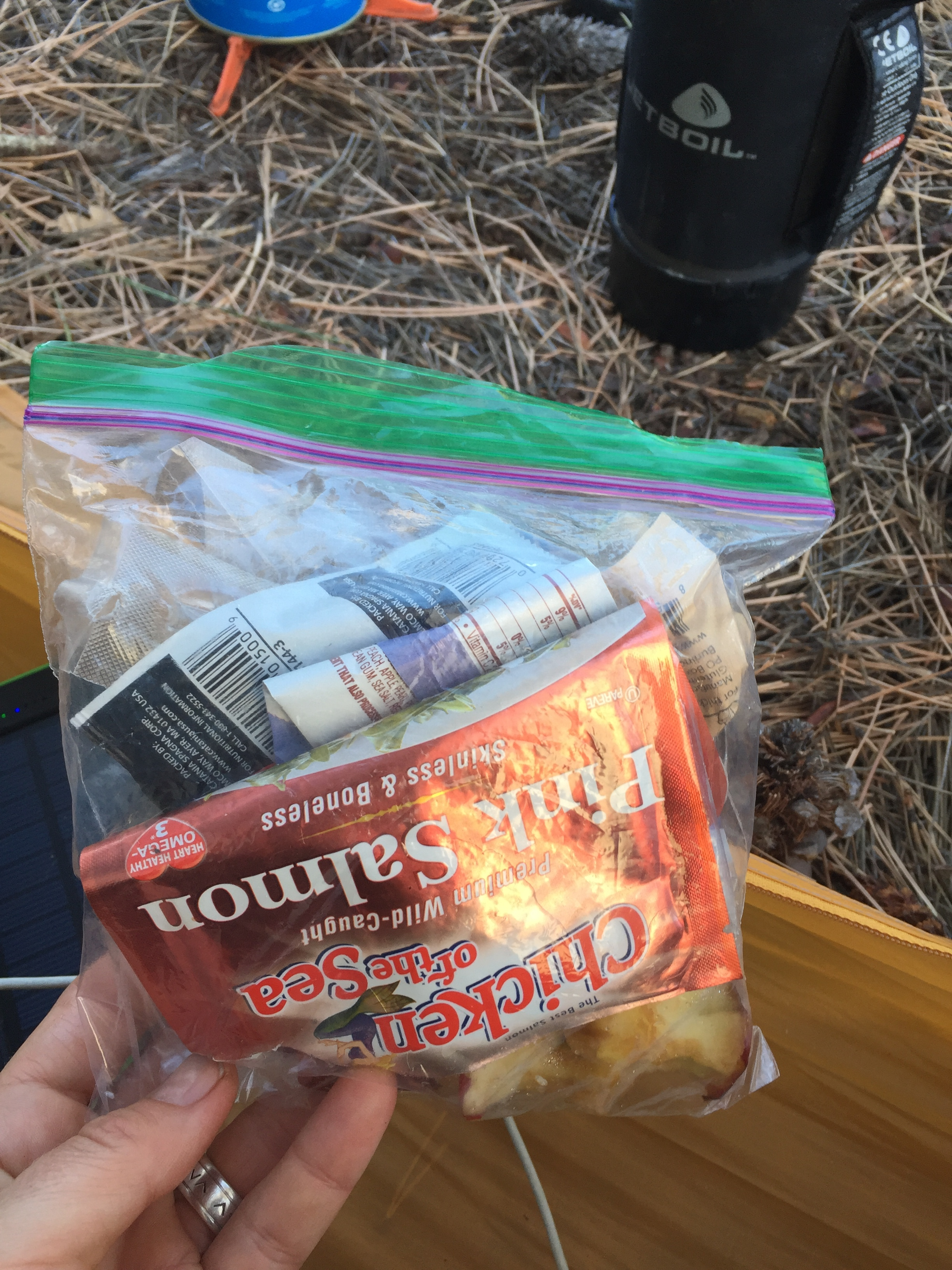 Pro tip: Carry an extra ziplock baggie or two for keeping your messy, drippy, stinky and otherwise disorganized garbage together. Practicing Leave No Trace ethics is easier when you don't have salmon juice and olive oil leaking all over your food kit. This part isn't sexy, but its important.
