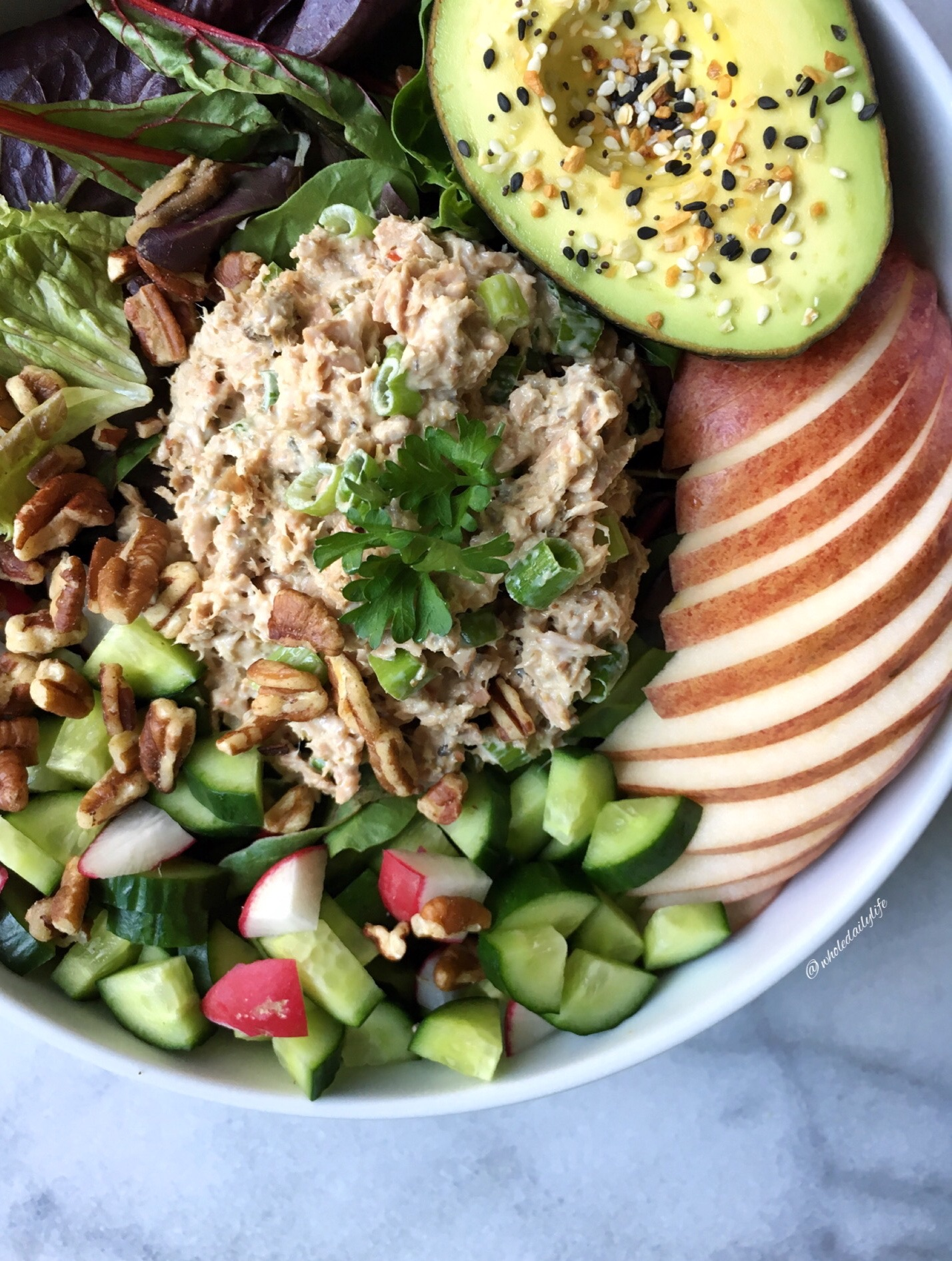 Garlic Herb Seasoned Tuna with Primal Kitchens Original Mayo, Green Onions, and Pecans