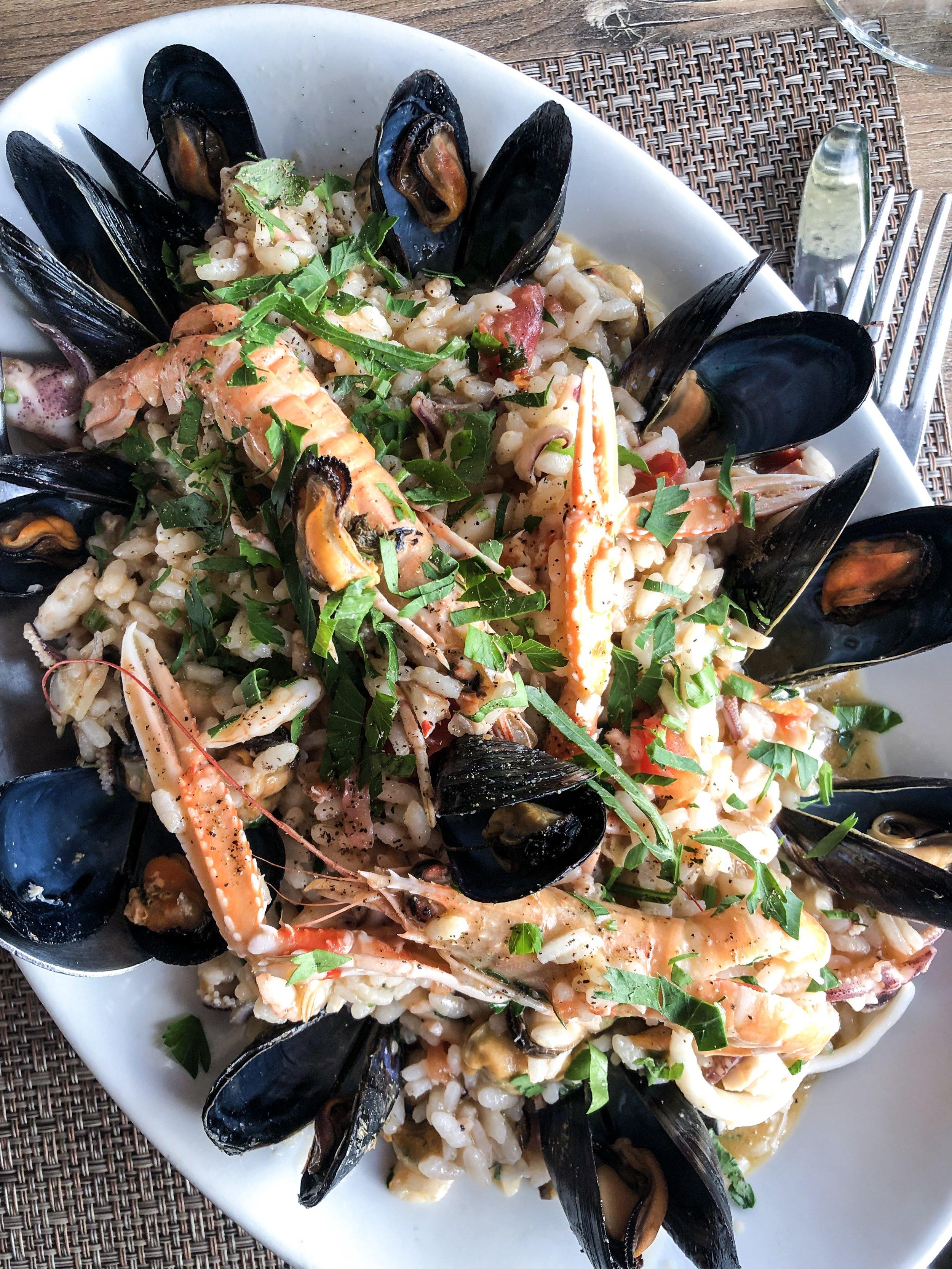 Seafood paella at Osteria La Caletta.