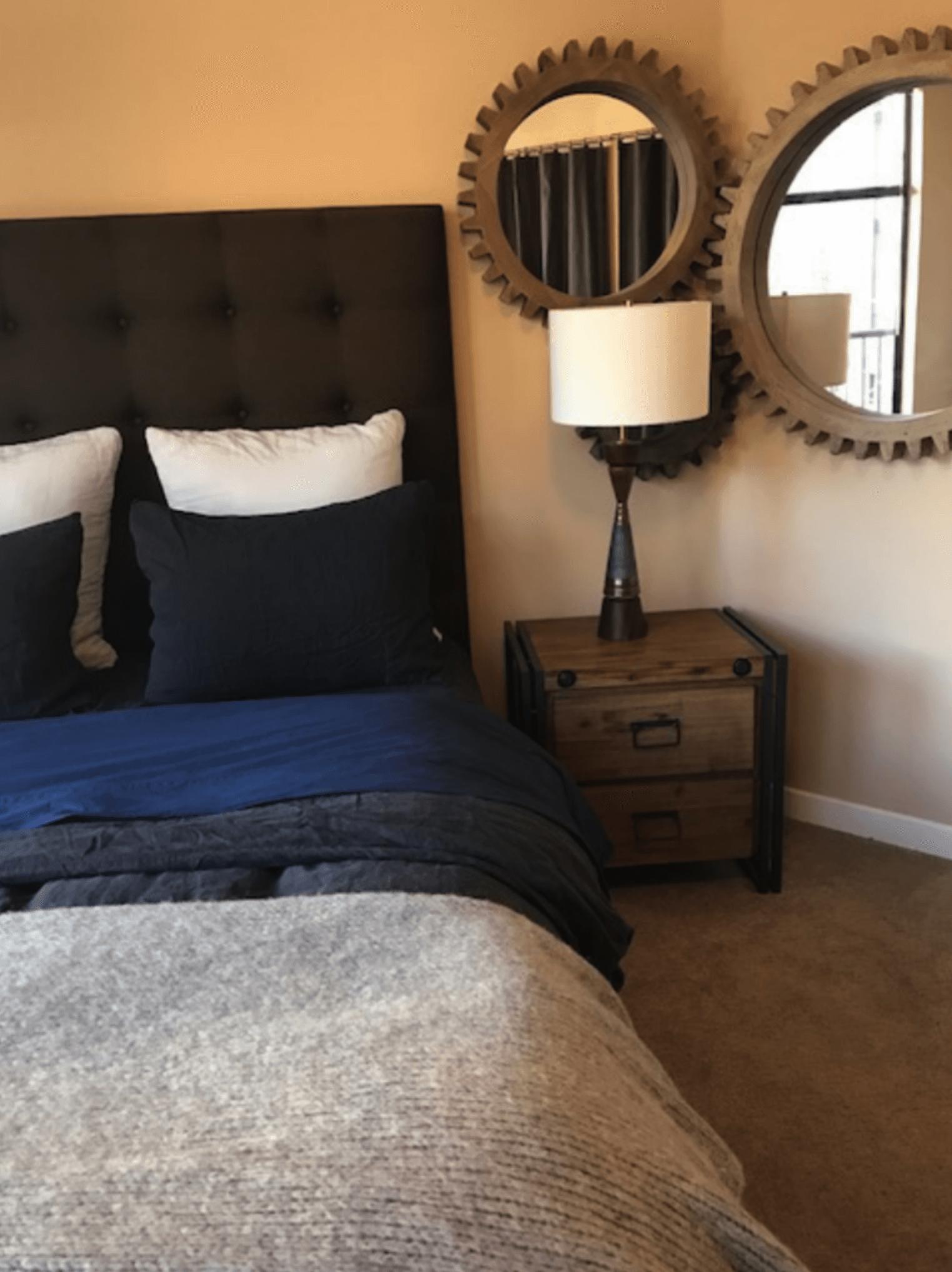 Bachelor pad industrial bedroom