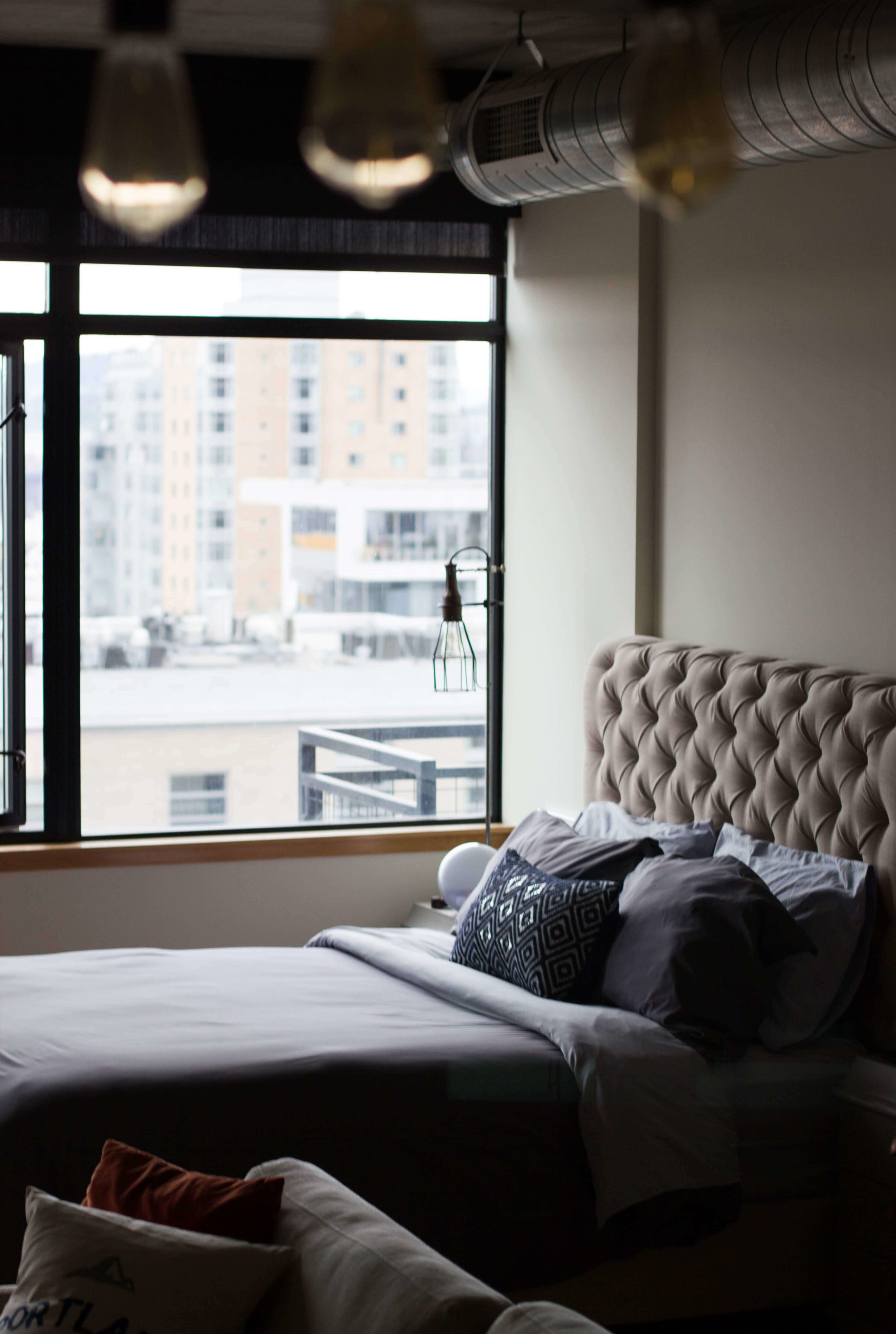 Bachelor pad blue bedroom