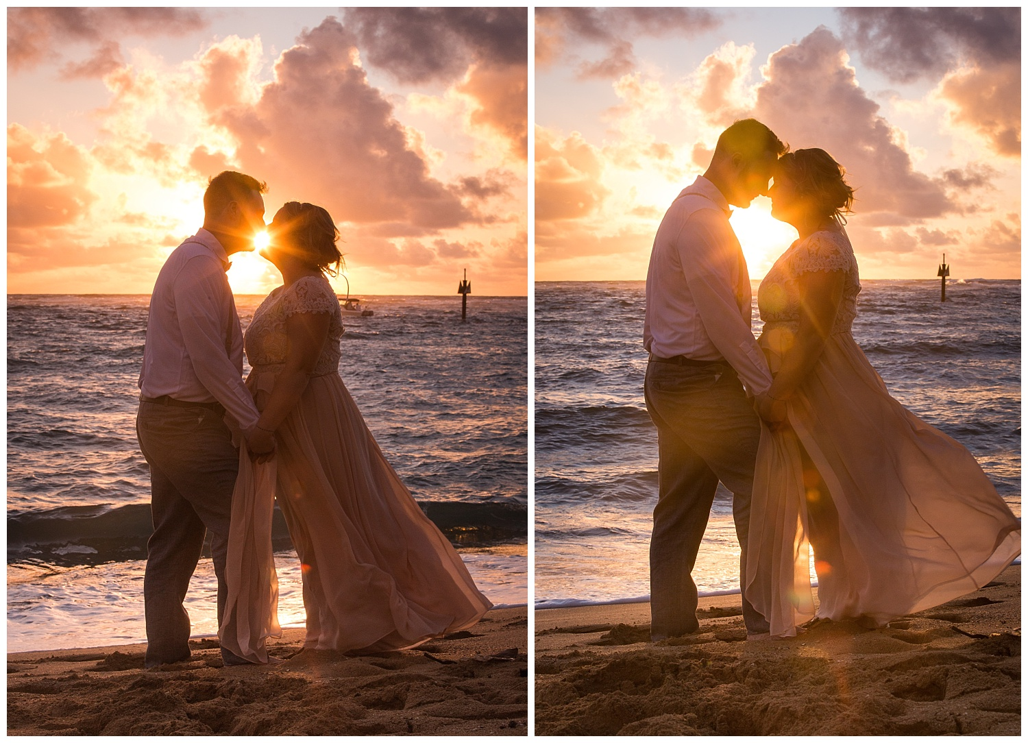 Couple kissing during a Hawaiian Sunset