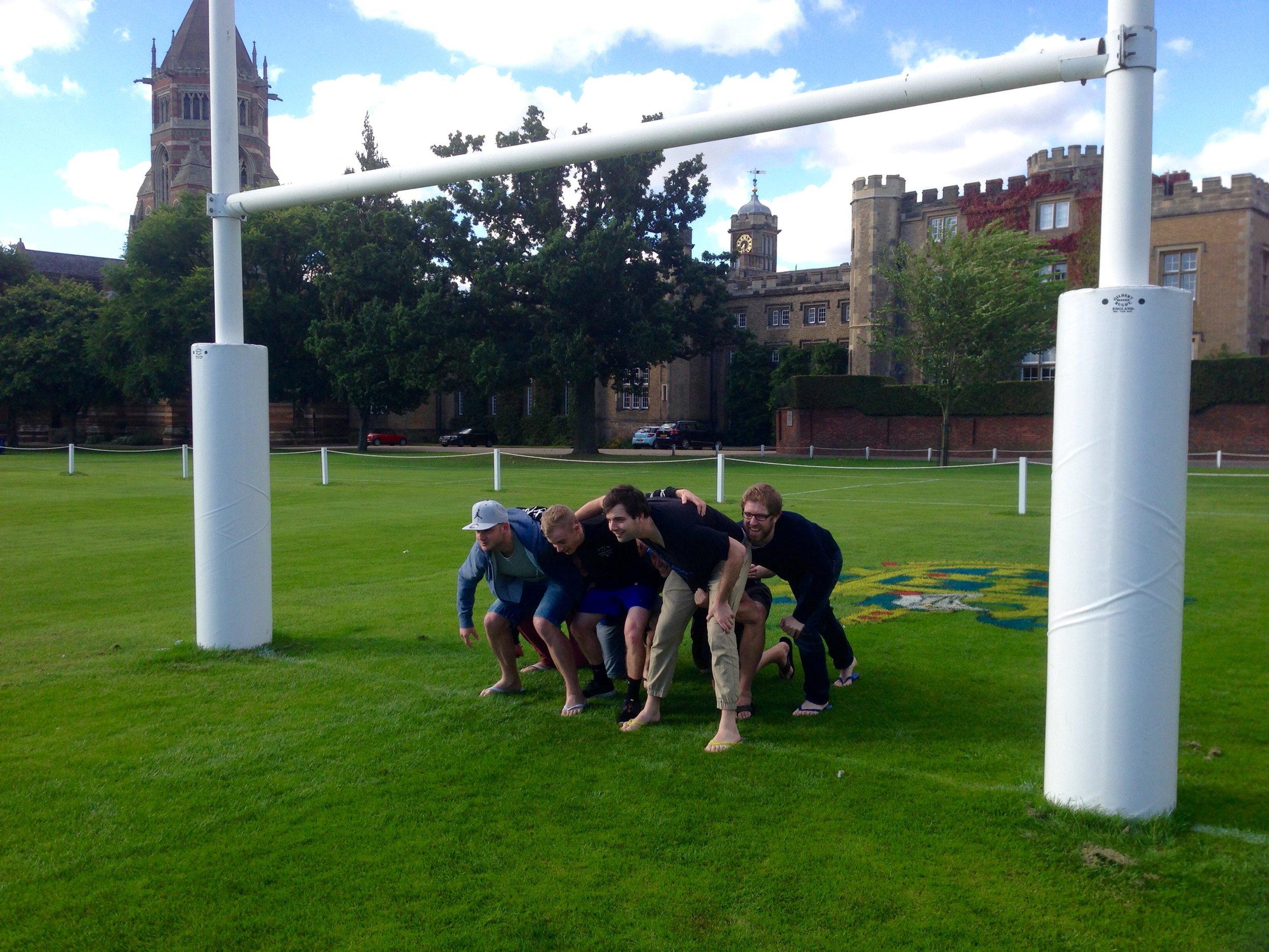Scrum on the Rugby School field. Kieran 'big man' Smith as hooker.