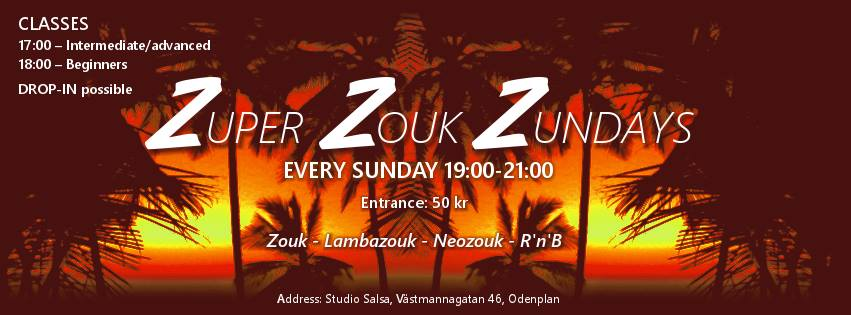 17.00-19.00 -  Workshops i brasiliansk Zouk  19.00-21.00 -  ZZZ-practica   Adress:  Studio Salsa, Västmannagatan 46, Odenplan  Pris ZZZ-practica:  50 kr, cash