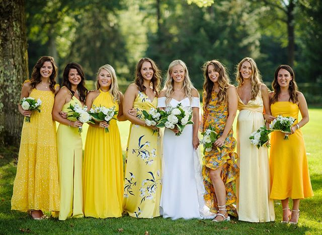 Can you say #bridalpartygoals ? We love when couples aren't afraid of a little color! C + B had a fairly neutral palette with pretty pops of color including these chic and stylish bridesmaid dresses worn by her lovely ladies.  Planner @aandlevents  Photography @michaelwillpro  Floral @greensinner  Hair @destefinobeautybar  Makeup @adriennepacemua