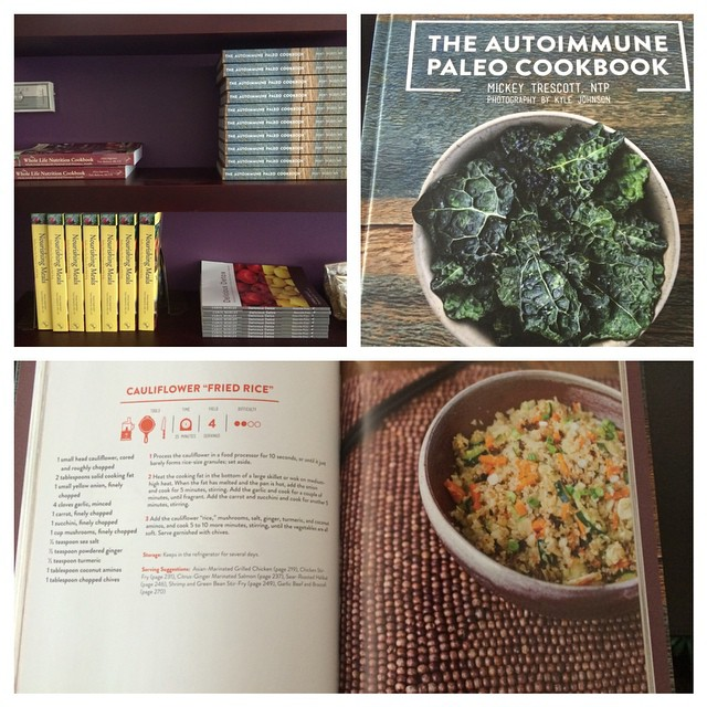 I'm so excited to be carrying this cookbook in the office. For anyone looking at taking care of chronic illness, especially autoimmune disease, this is a must have resource for an allergen free, nutrient dense diet.      This diet helped me immensely. Last winter I was diagnoses with hypothyroidism (which is an autoimmune disease in over 90% of cases) and was given a prescription for synthroid. However I avoided taking it by following a comprehensive autoimmune protocol which involved the autoimmune paleo diet. Thankfully my blood work slowly returned into normal range.     Let food be thy medicine! (at Dartmouth Naturopathic Health Centre)