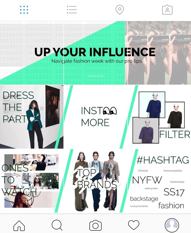 Each  instagram post  linked to a tip relating to marketing at #NYFW