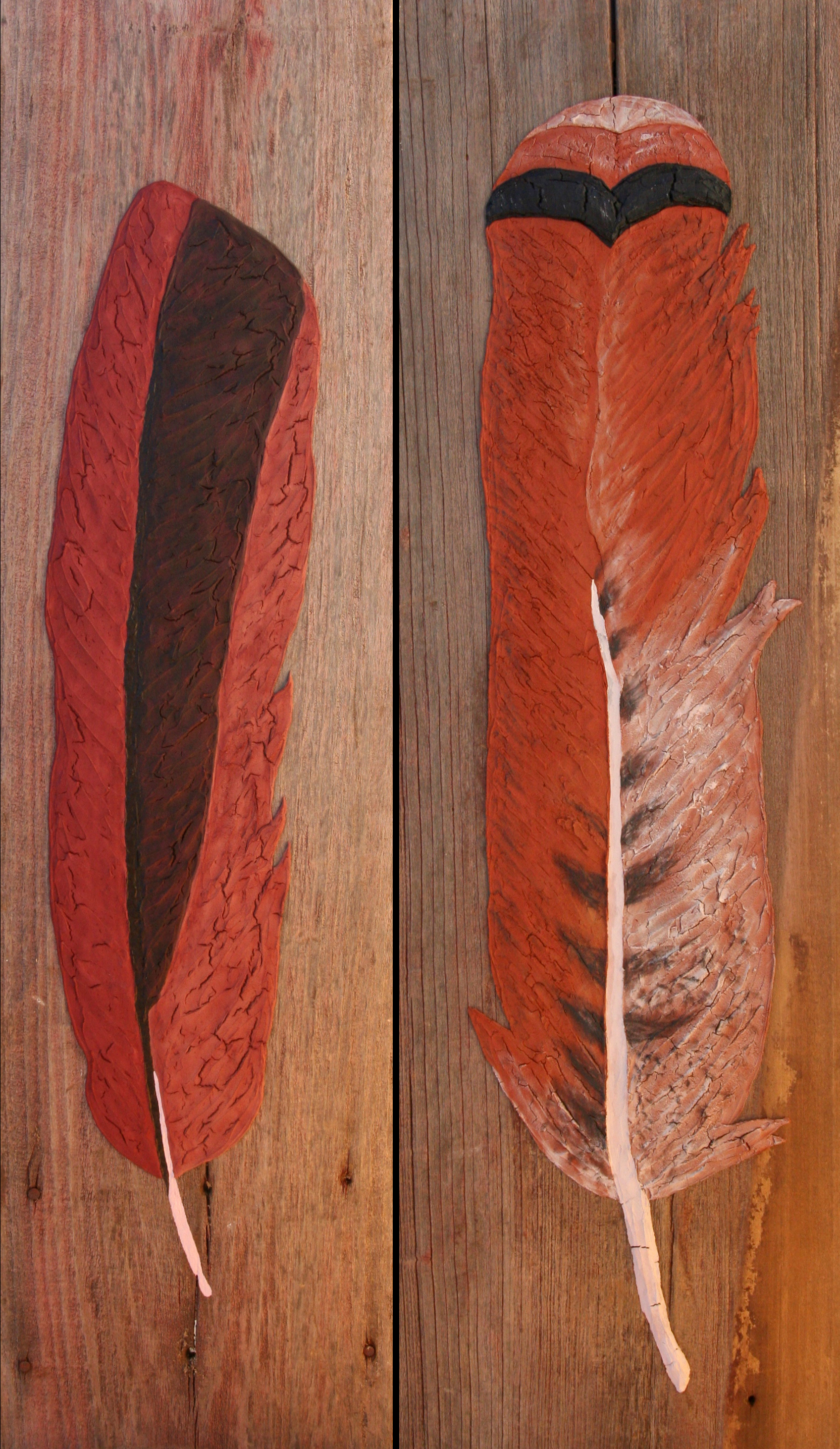 Cardinal  | plaster, acrylic on barn siding | 9.5 x 36 | $160   Red-tailed Hawk  | plaster, acrylic on barn siding | 10.5 x 36 |  sold