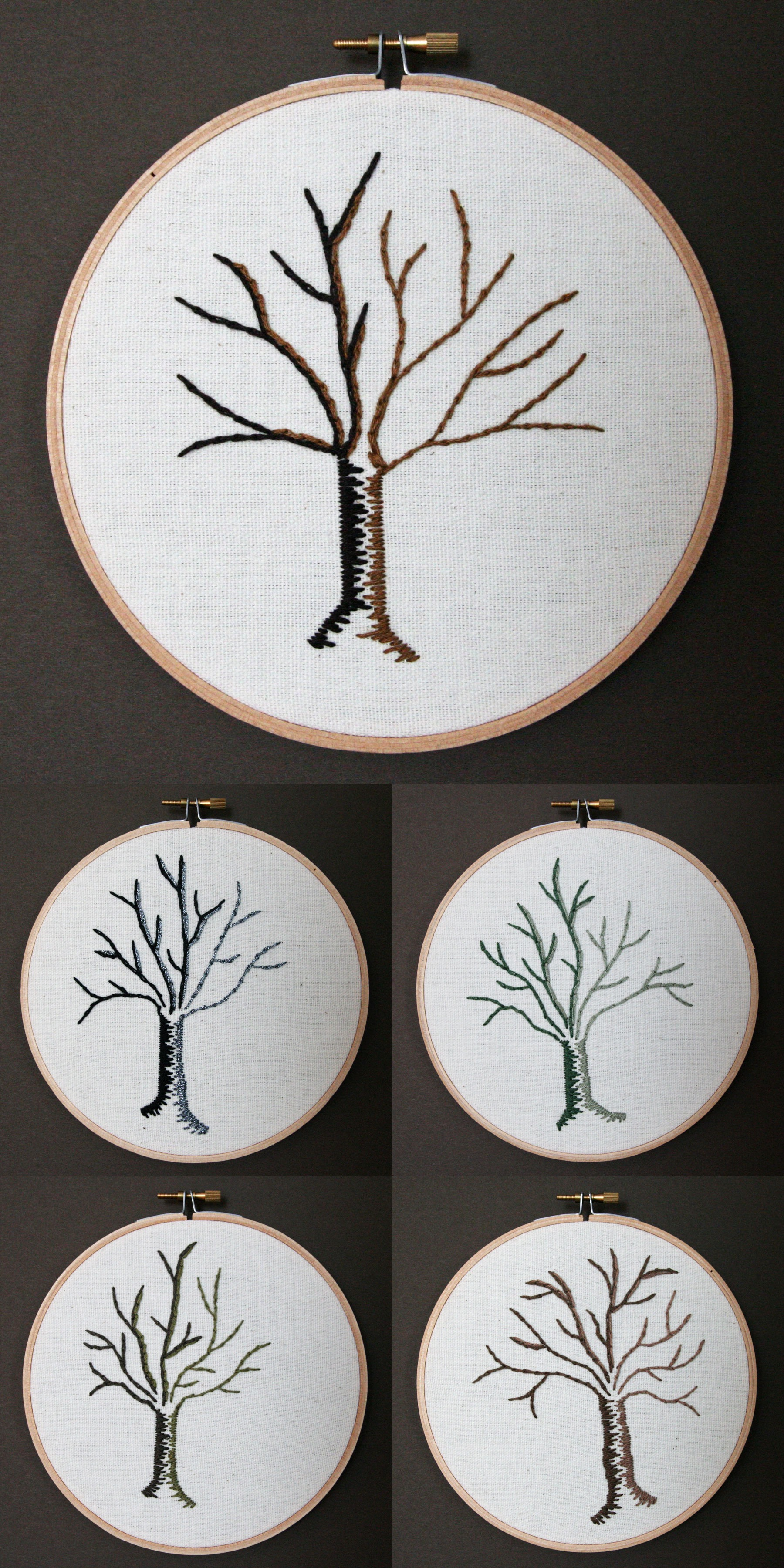 Trees | embroidery on canvas | $25/each