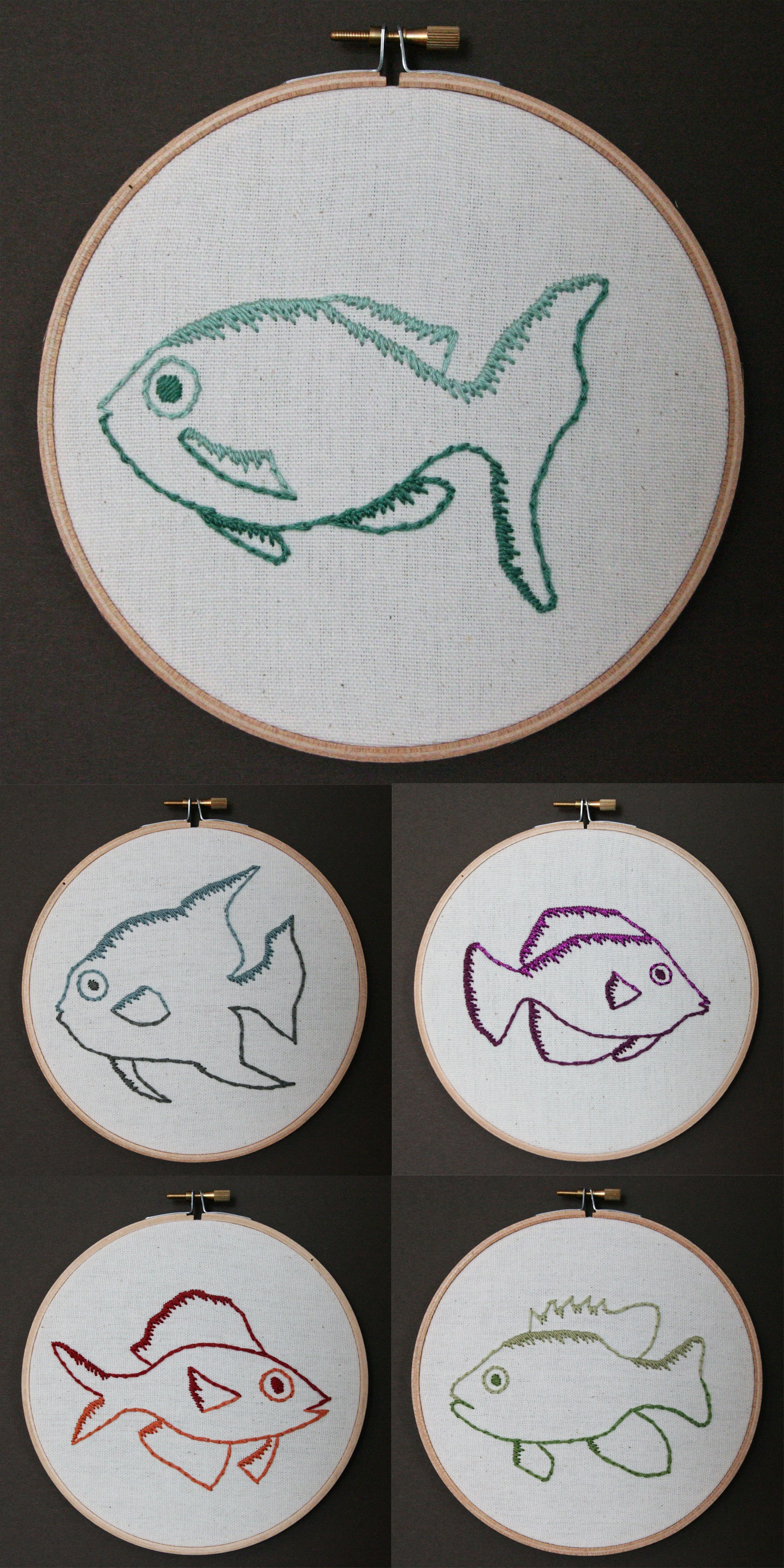 Fish | embroidery on canvas | $25/each