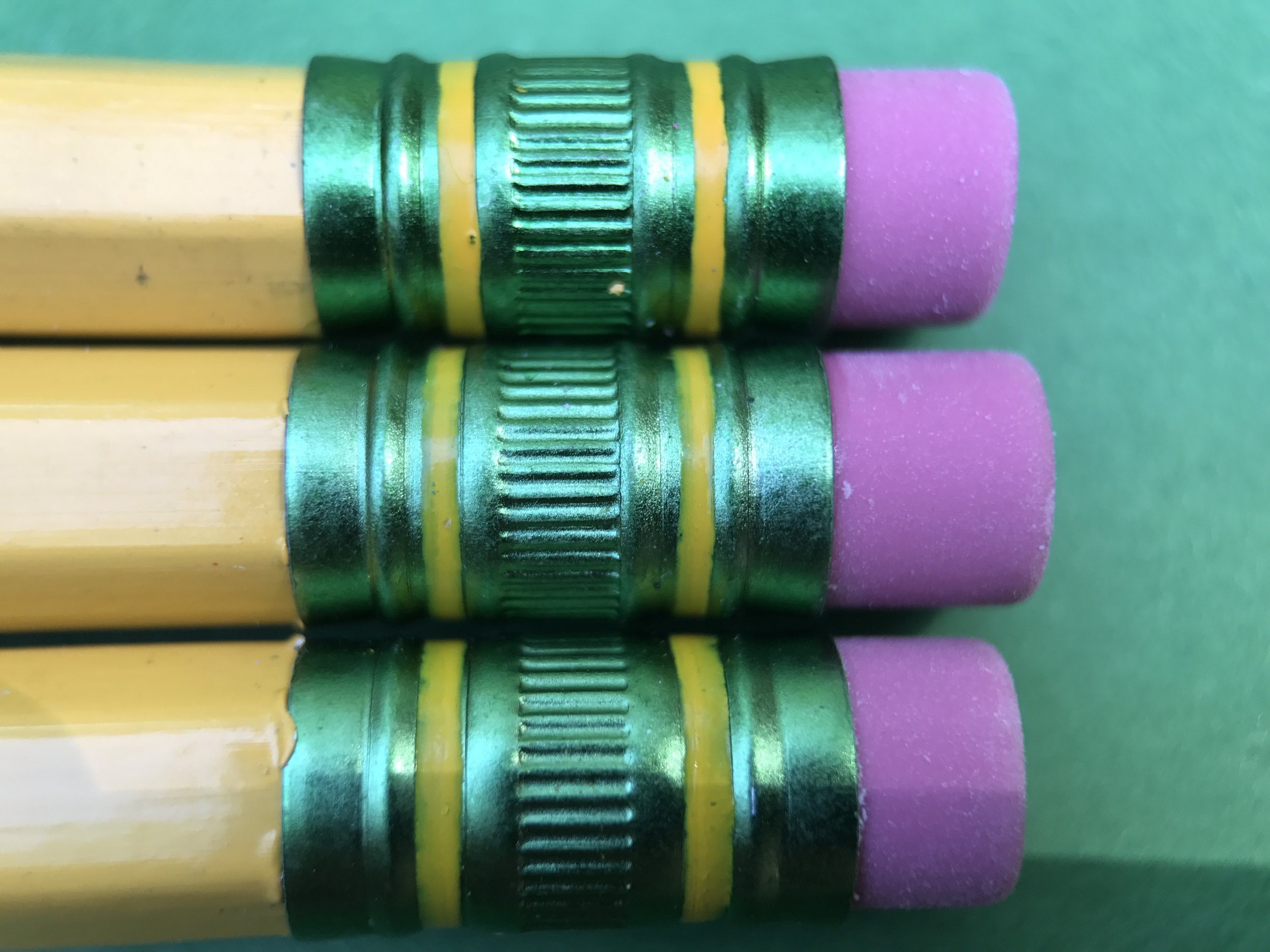 3 pencils, 3 different eraser sizes. Basswood Tics.