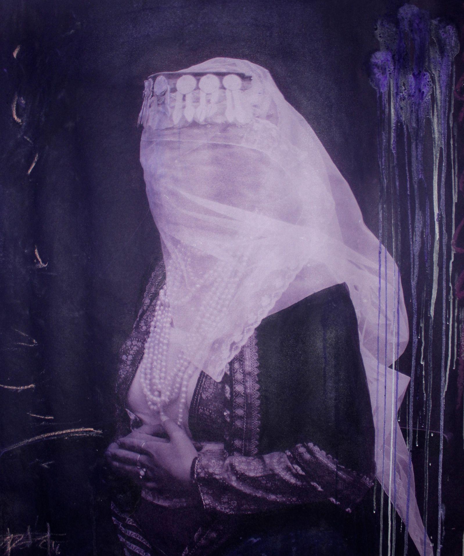 Firouz Farman Farmaian - A Woman with Veil in Purple - 15x14