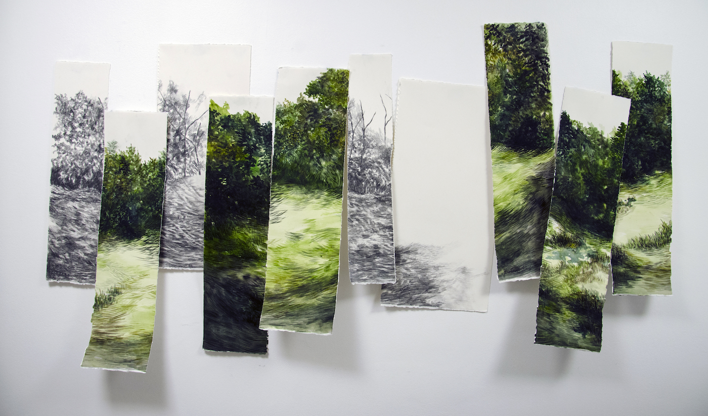 """From the series """"Paisajes"""", watercolour on cotton paper, 105 X 190 cm., 2015."""