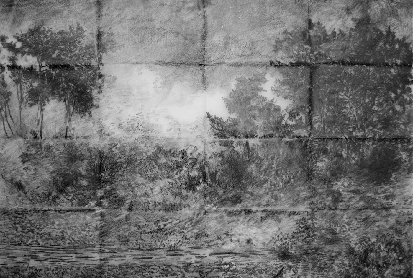 "From the series ""Tsunamies"", graphite on vellum paper, 59 X 90 cm., 2013."
