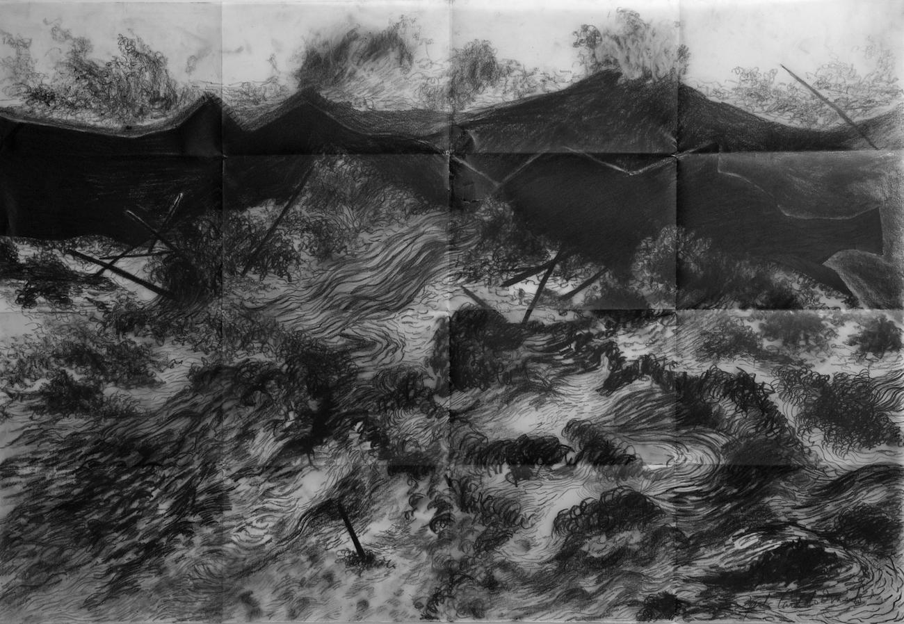 "From the series ""Tsunamies"", graphite on vellum paper, 59 X 90 cm., 2014."
