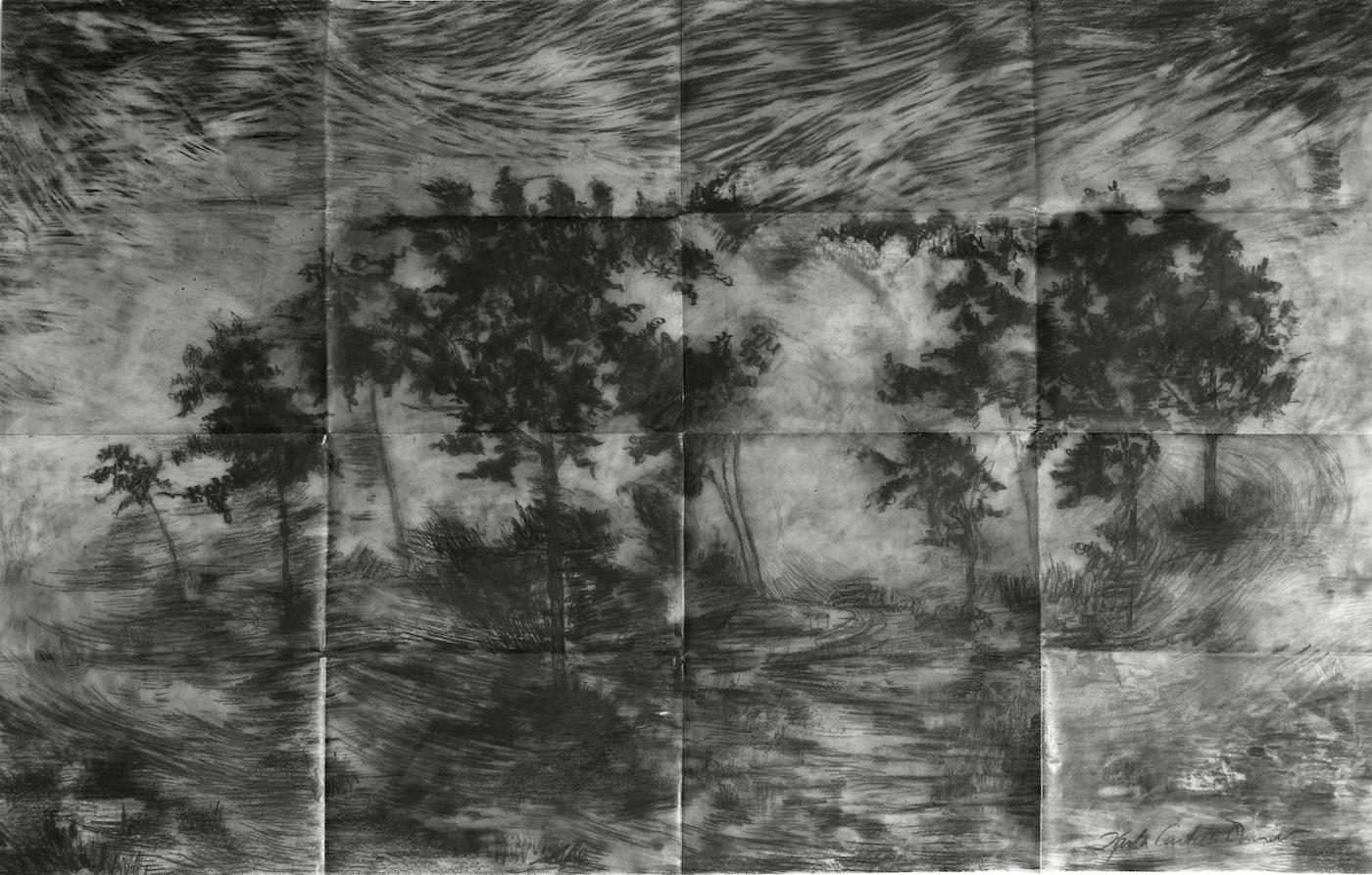 "From the series ""Tsunamies"", graphite on vellum paper, 59 X 59 cm., 2013."