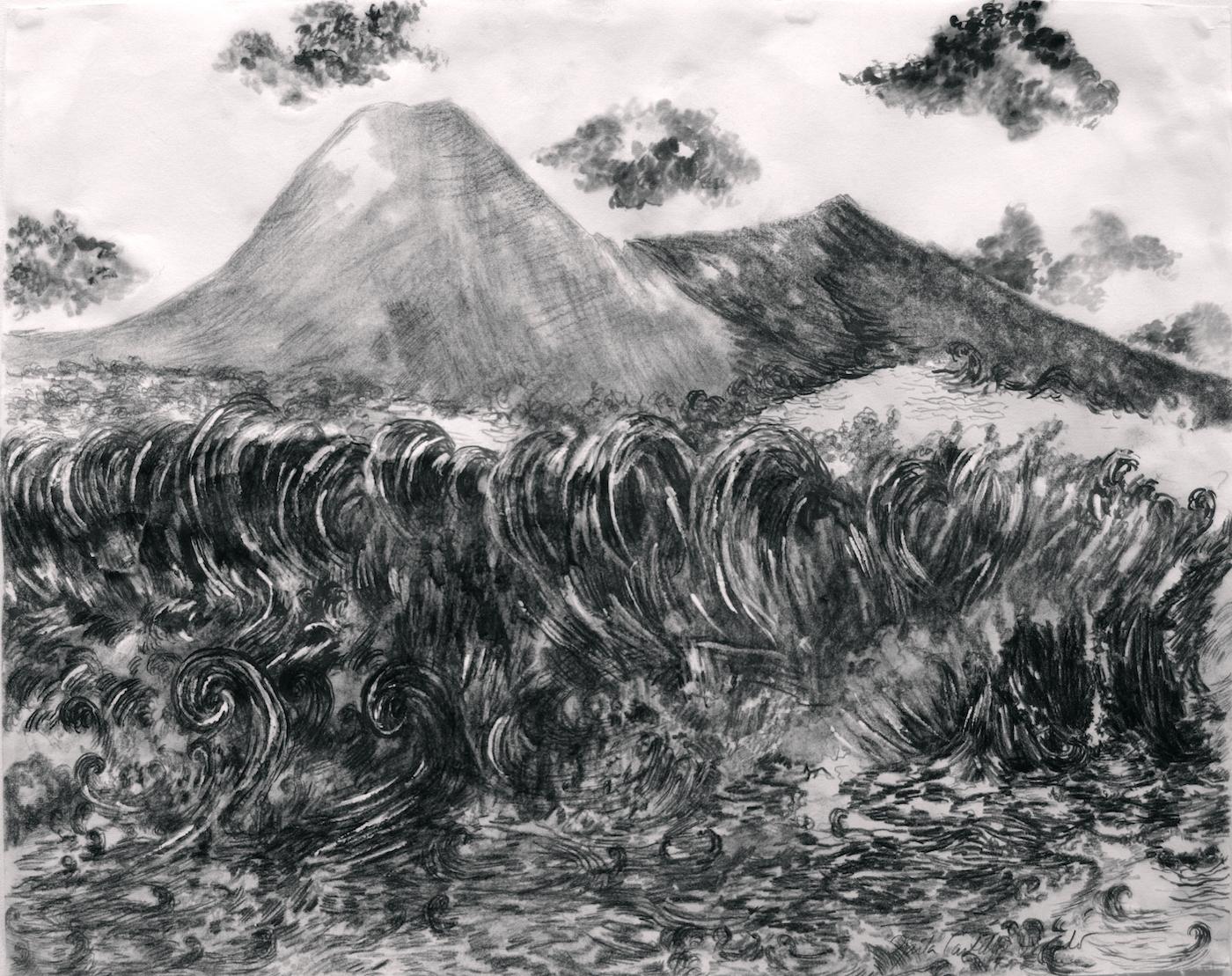 "From the series ""Tsunamies"", graphite on vellum paper, 50 X 65 cm., 2017."