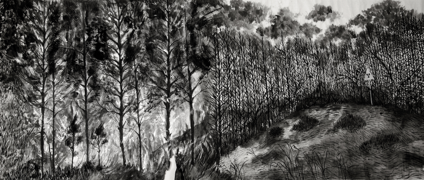 "From the series ""Paisajes en transformación"", - 5/6, on Suiboku on Japanese paper, 69 cm. X 10m., 2013."