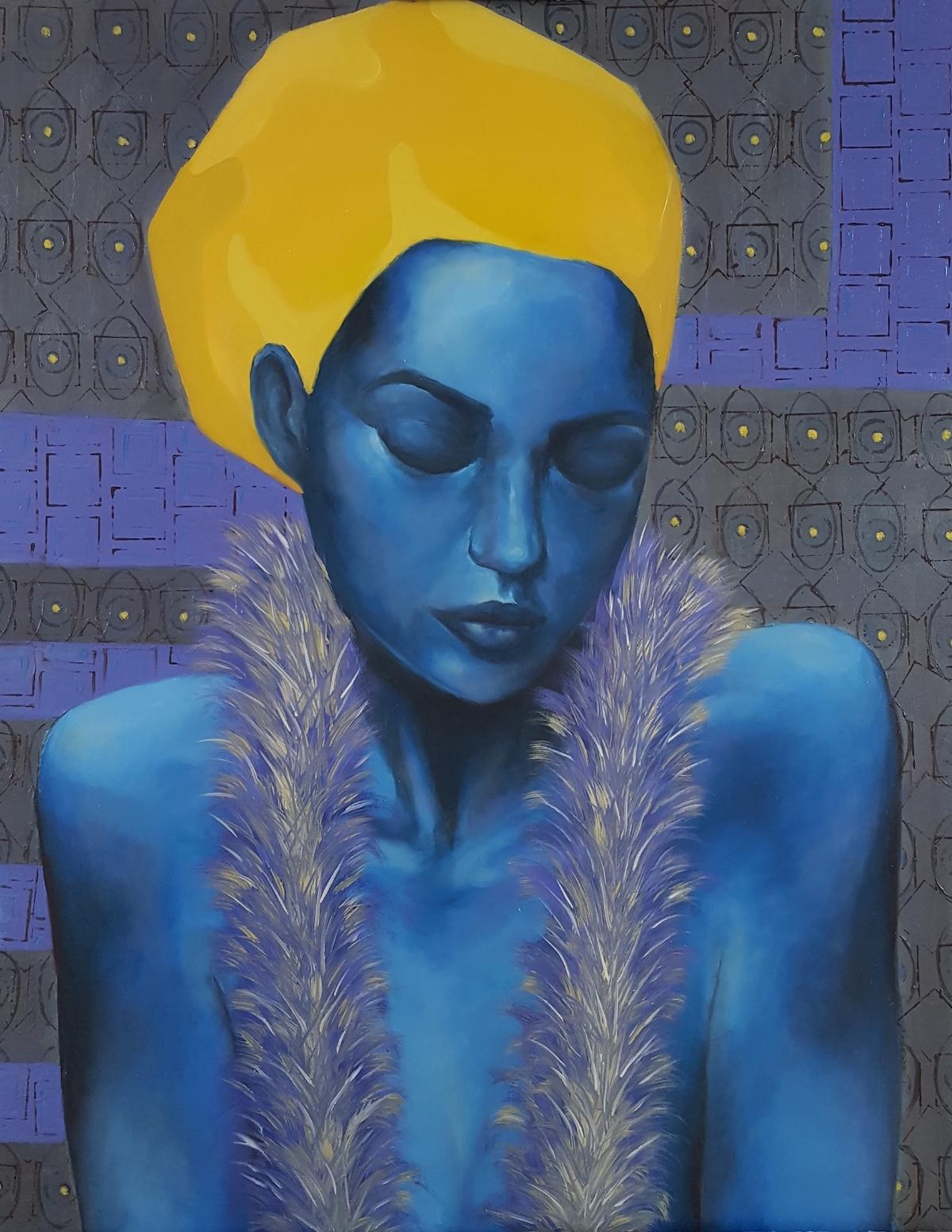 Blue woman 2. Pastels, Acrylics & oils on canvas. 59.5 x 76cm.jpg