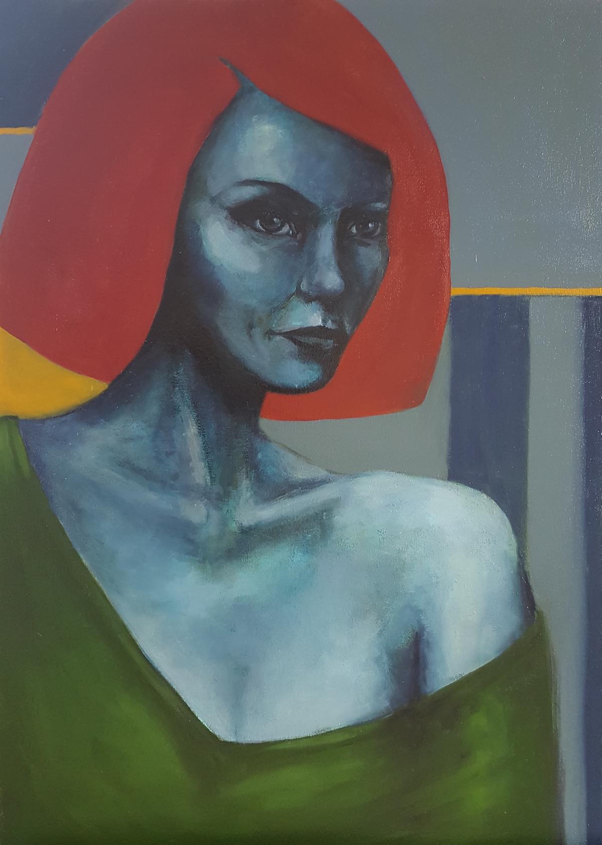 Blue woman. Pastels, acrylics & oils on canvas. 51 x 71cm.jpg