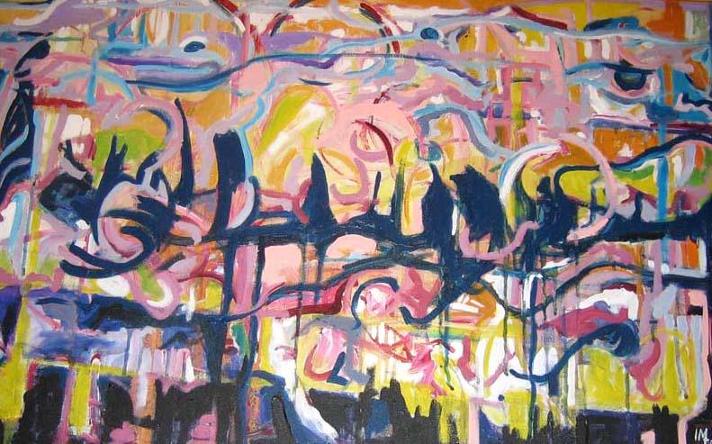 """Electric Landscape"" Acrylic on Canvas 24""x36"""